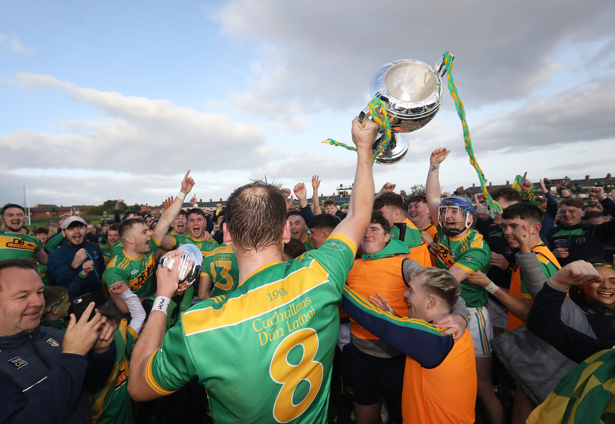 Paul Shiels lifts the Volunteer Cup as Dunloy completed three-in-a-row