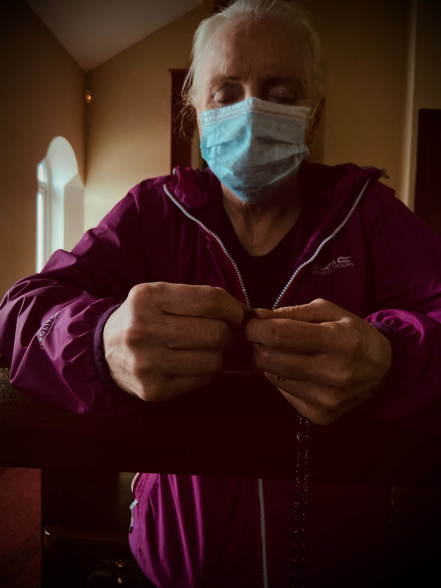 HIGHER POWER: A worshipper joins prayer group at Sacred Heart Parish Church in North Belfast which resumed this week after an 18-month break due to the pandemic