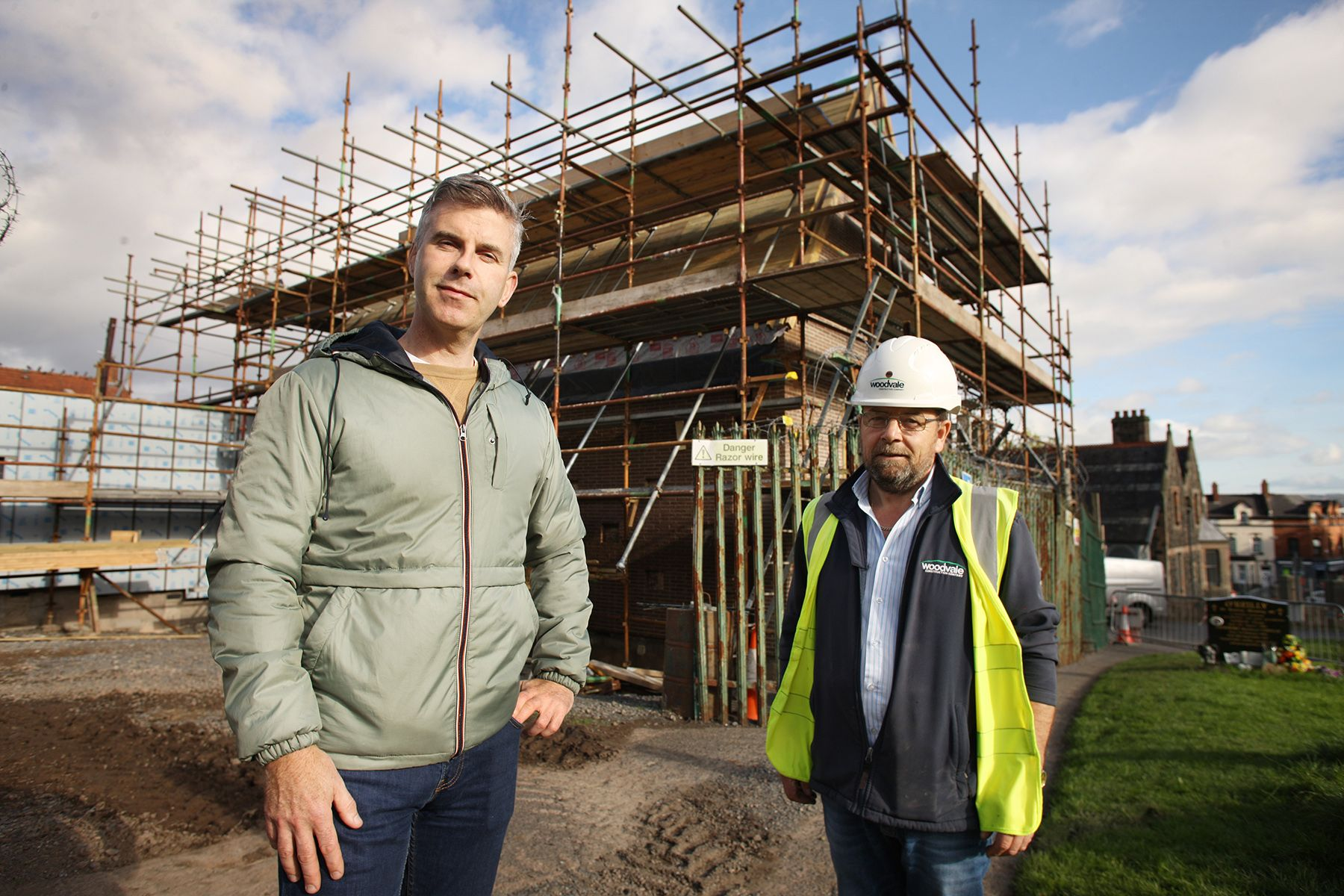 CONSTRUCTIVE: Councillor Steven Corr with the City Cemetery Visitor Centre site foreman Dessie Brennan