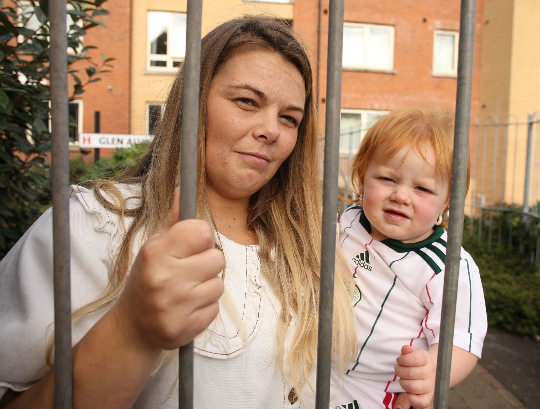 NO VISITS ALLOWED: Mother-of-four Cara Brown with her daughter Darcy Rae at Glen Alva Family Centre on the Cliftonville Road