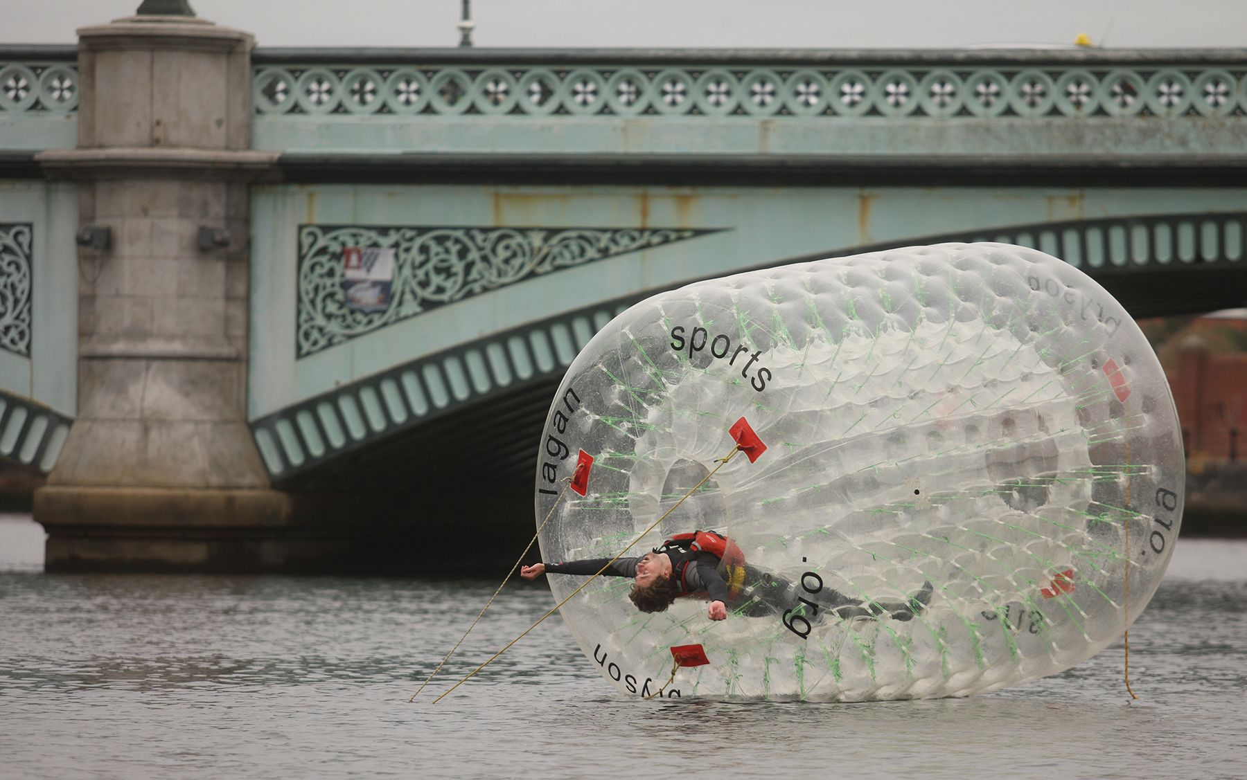 UP THE LAGAN IN A BUBBLE: Actor Shaun Blaney arrives at the Lyric Theatre after travelling up the river Lagan in a bubble