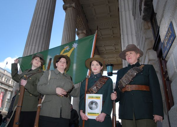 AIRBRUSHED OUT: In 2008, women gathered at the GP in Dublin in the uniform of Cumann na mBan to demand a proper memorial to the \'Forgotten Women of 1916, The Tan War and the Civil War\'.