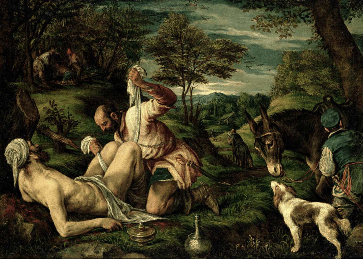 A HELPING HAND: Detail from the Parable Of The Good Samaritan, by Francesco Bassano