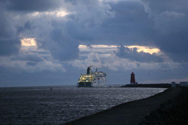 BORDER-BOUND: An Irish Ferries cargo ship sets out to cross the Irish Sea
