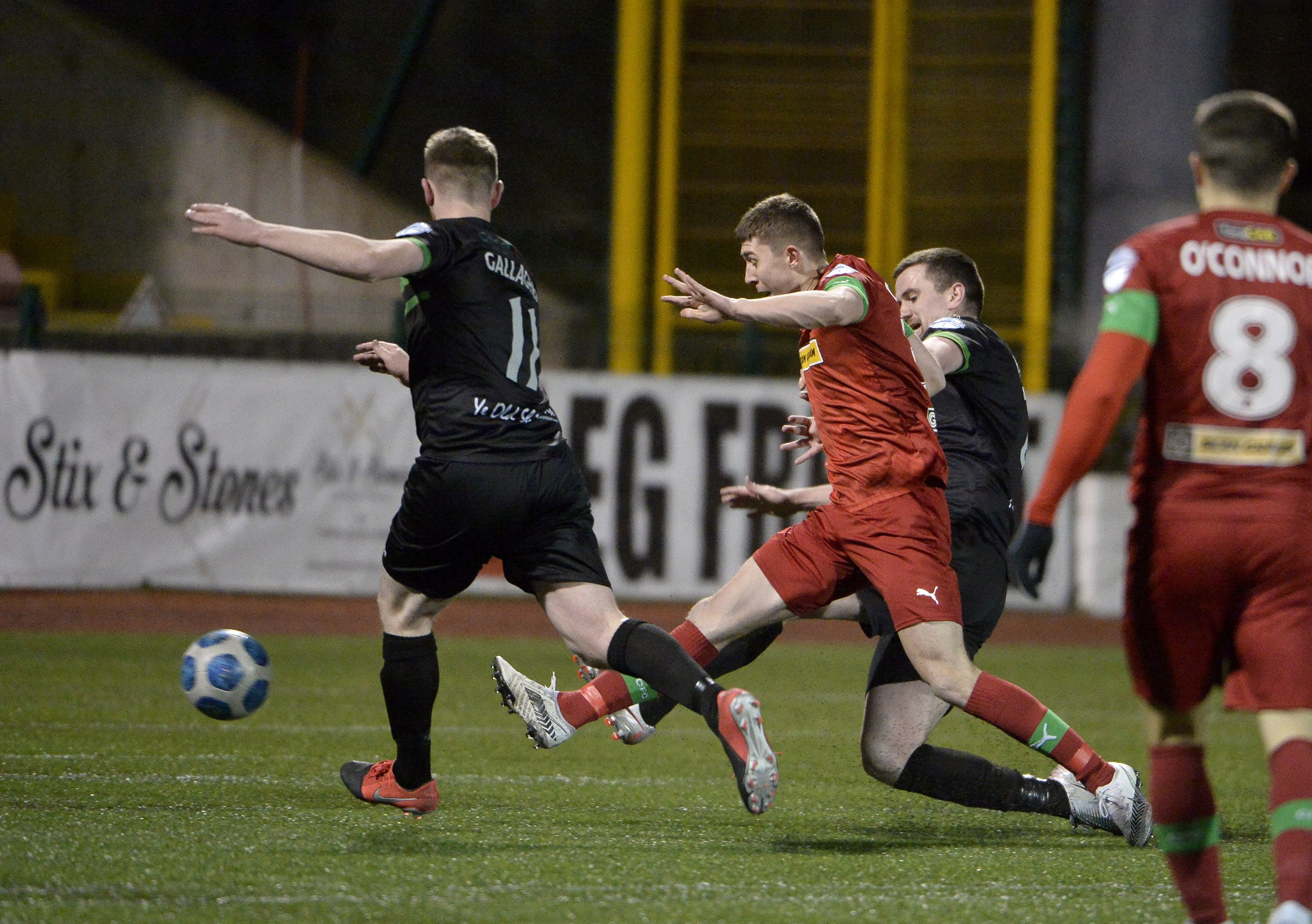 Paul O\'Neill scores his first goal for Cliftonville\'s during Tuesday\'s 3-0 win over Warrenpoint Town