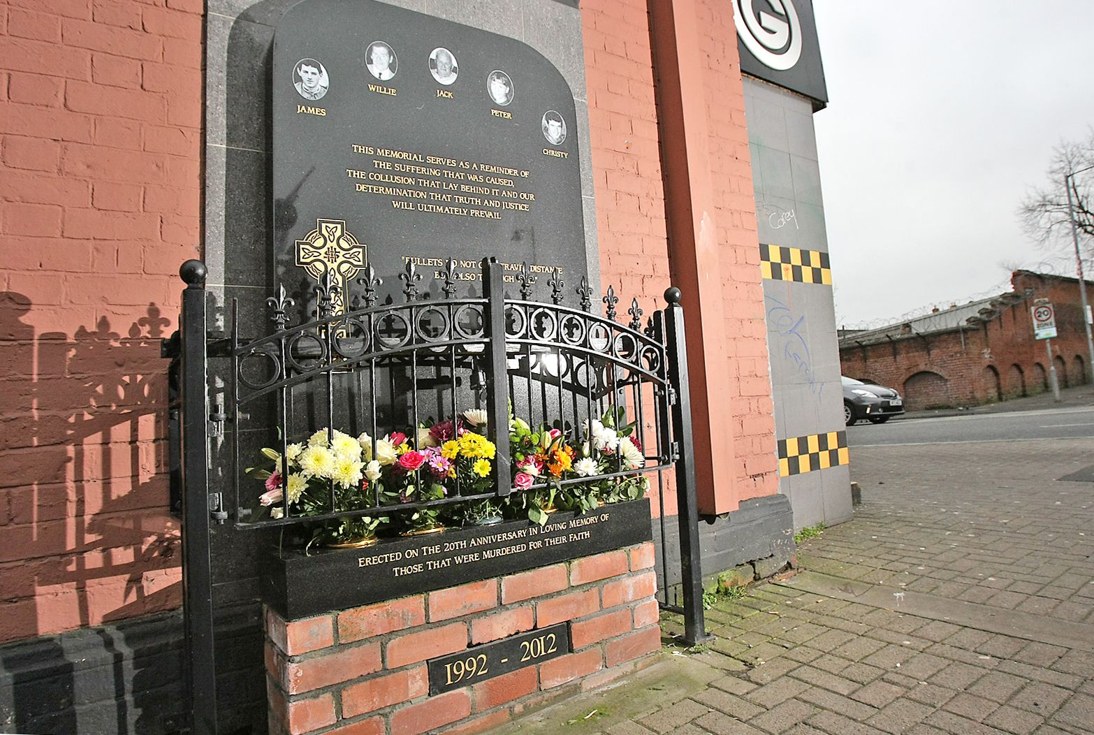 NOT FORGOTTEN: The memorial to the five victims on the Ormeau Road