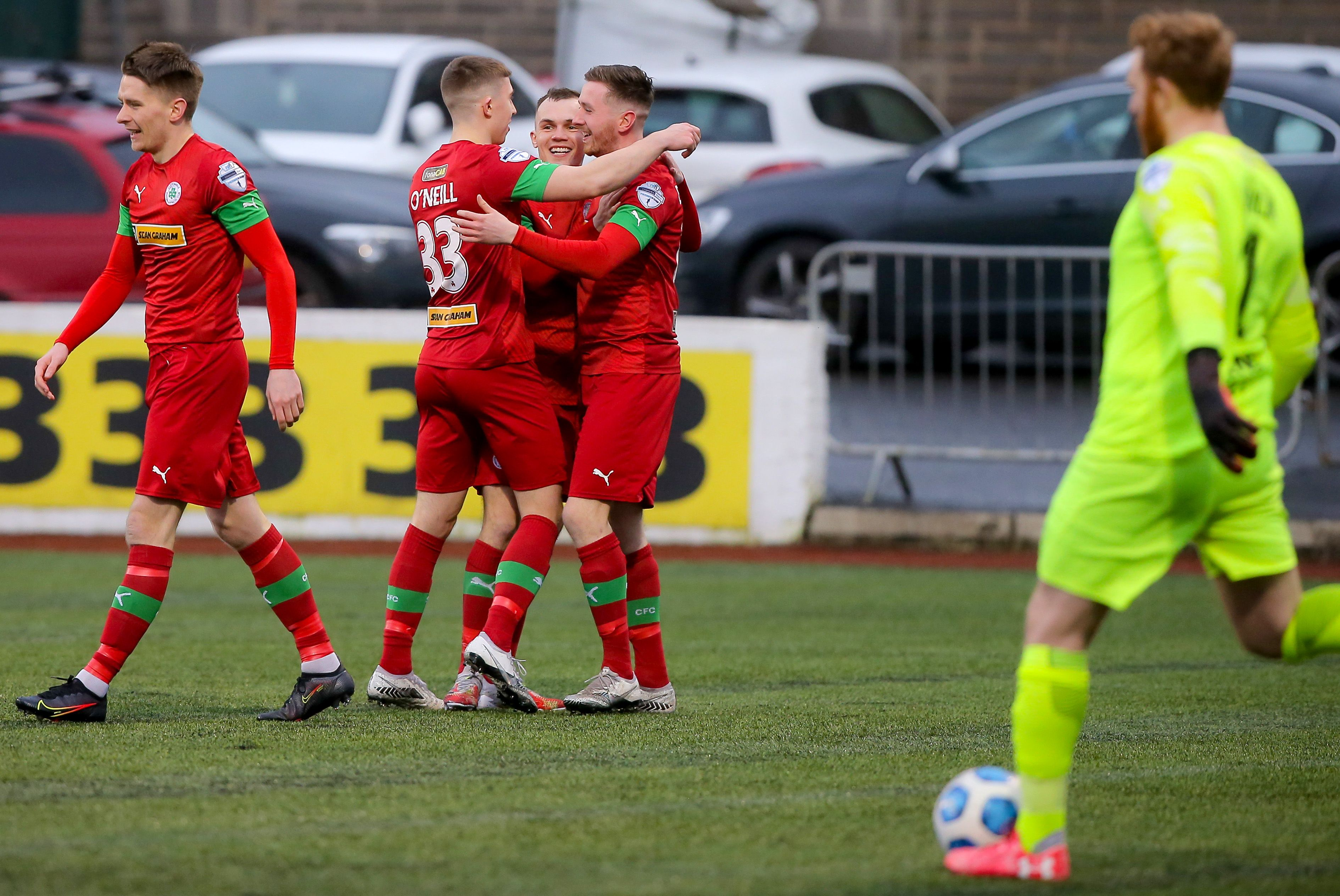 Ronan Doherty celebrates scoring the only goal of the game