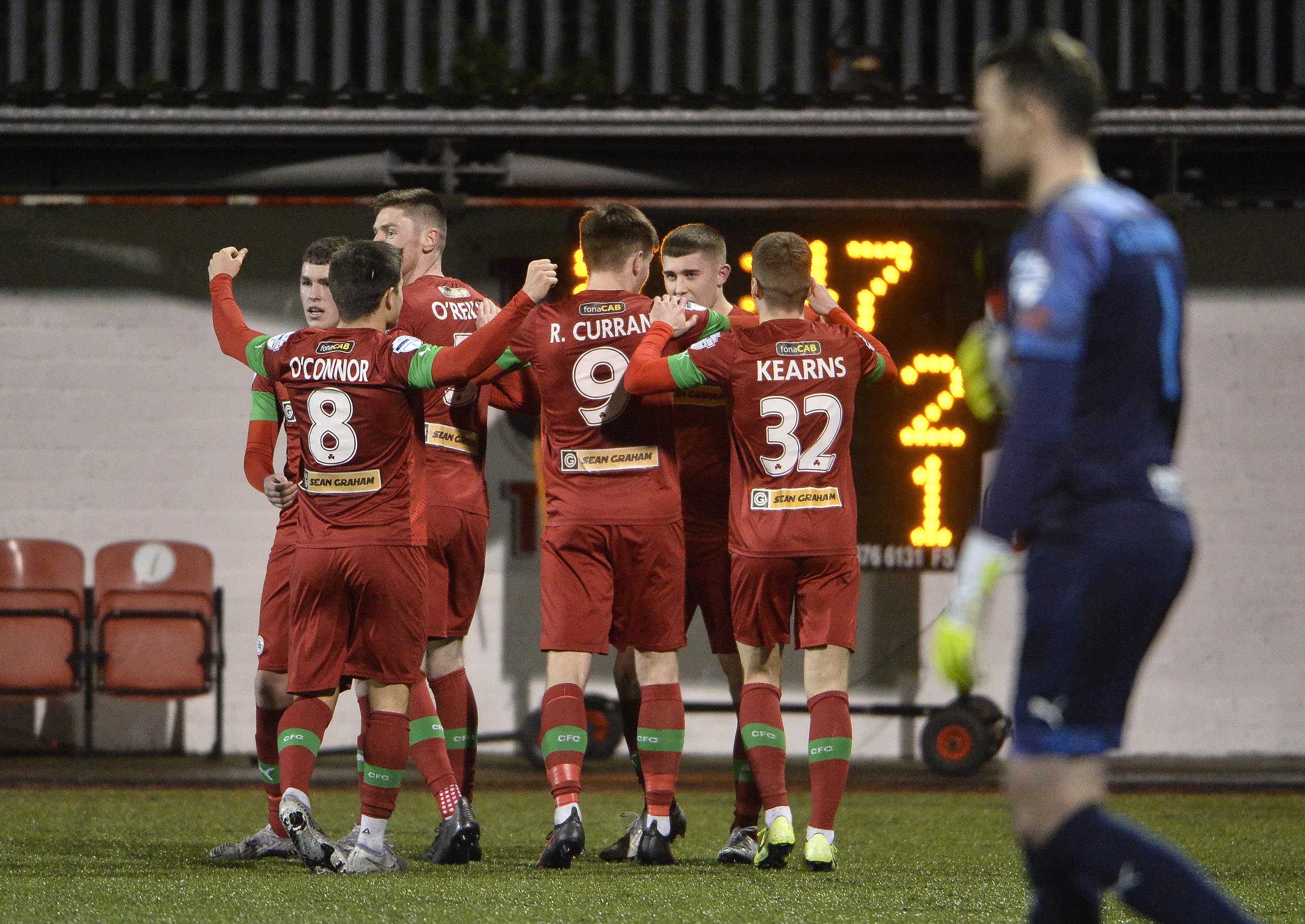 Paul O\'Neill is mobbed after scoring the winner on Tuesday