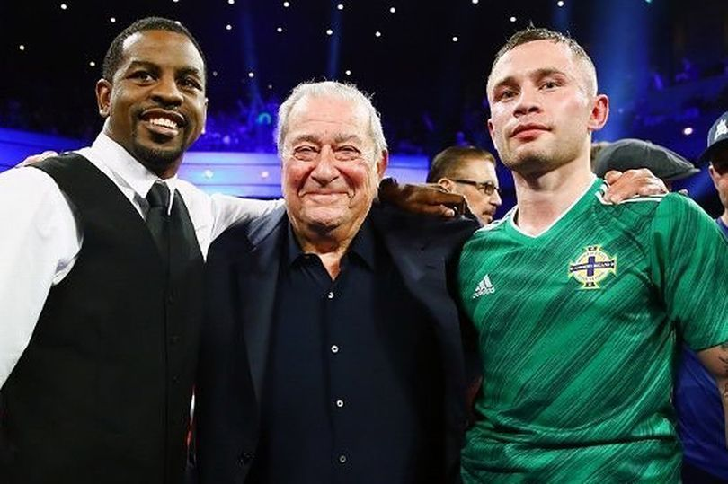 Jamel Herring and Carl Frampton, pictured with Top Rank promoter Bob Arum, will finally get to trade leather for the American\'s WBO super-featherweight title on April 3