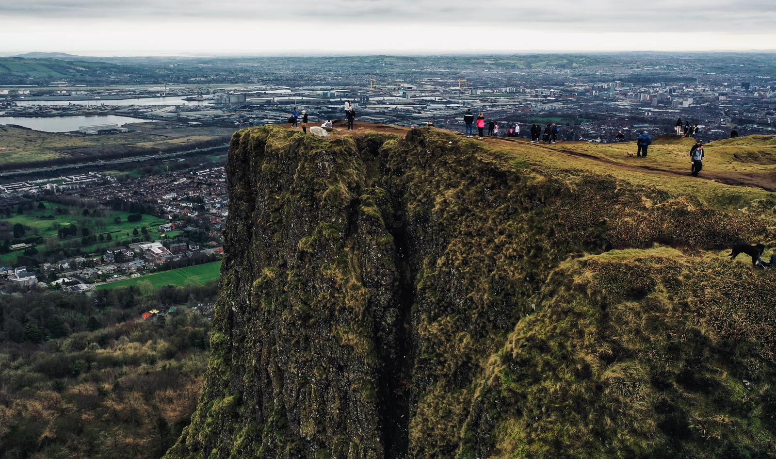 YOU CAN SEE THE LIGHT AT END OF THE TUNNEL FROM HERE: Walkers on Cavehill on Saturday
