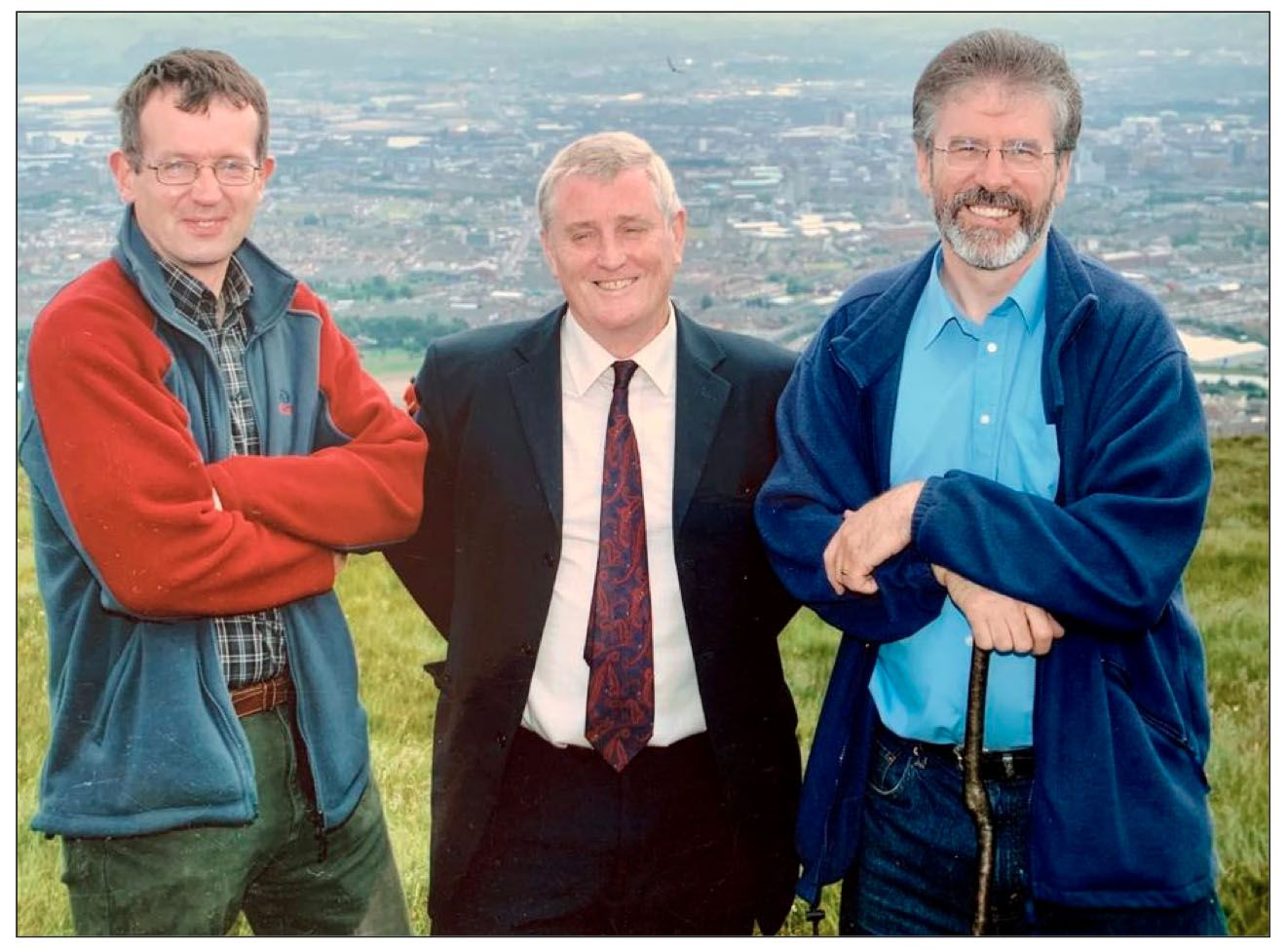A NATURAL TREASURE: Dawson Stelfox, the later Terry Enright and Gerry Adams on the Belfast Hills