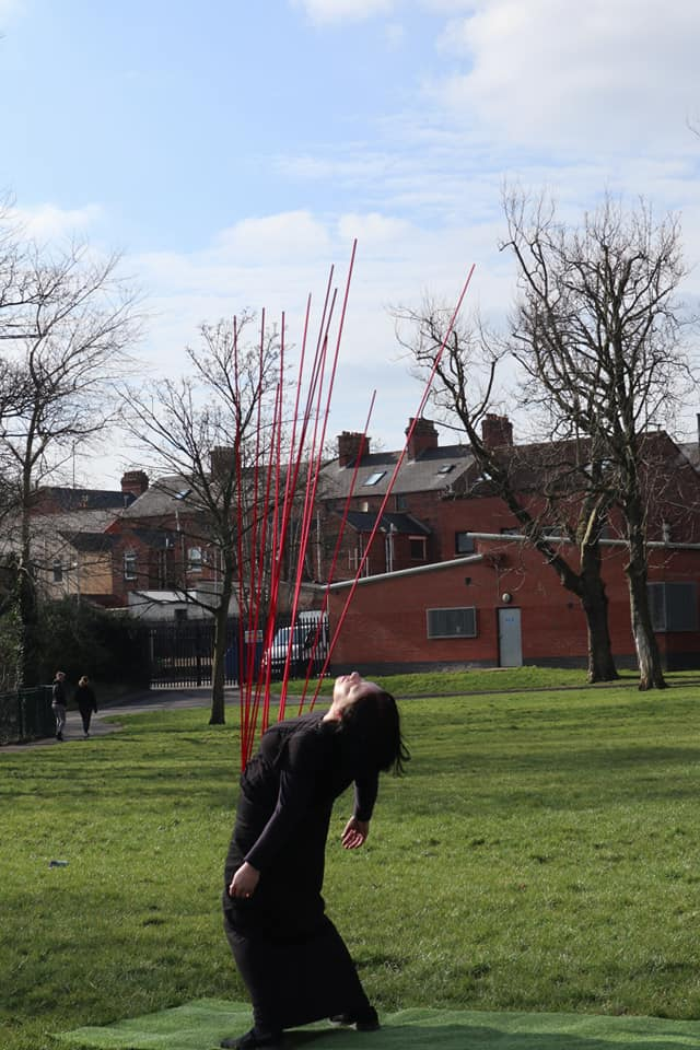 WORLD\'S APART: Performance artist Sinéad O\'Donnell in North Belfast\'s Alexandra Park
