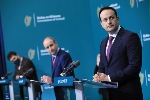 SEARCHING FOR EXCUSES TO DELAY IRISH REUNIFICATION: Irish Government leaders Eamon Ryan, Micheál Martin and Leo Varadkar.