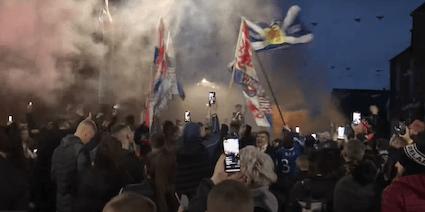 A VICTORY FOR COVID: Rangers\' fans breach Covid protocols to celebrate win.