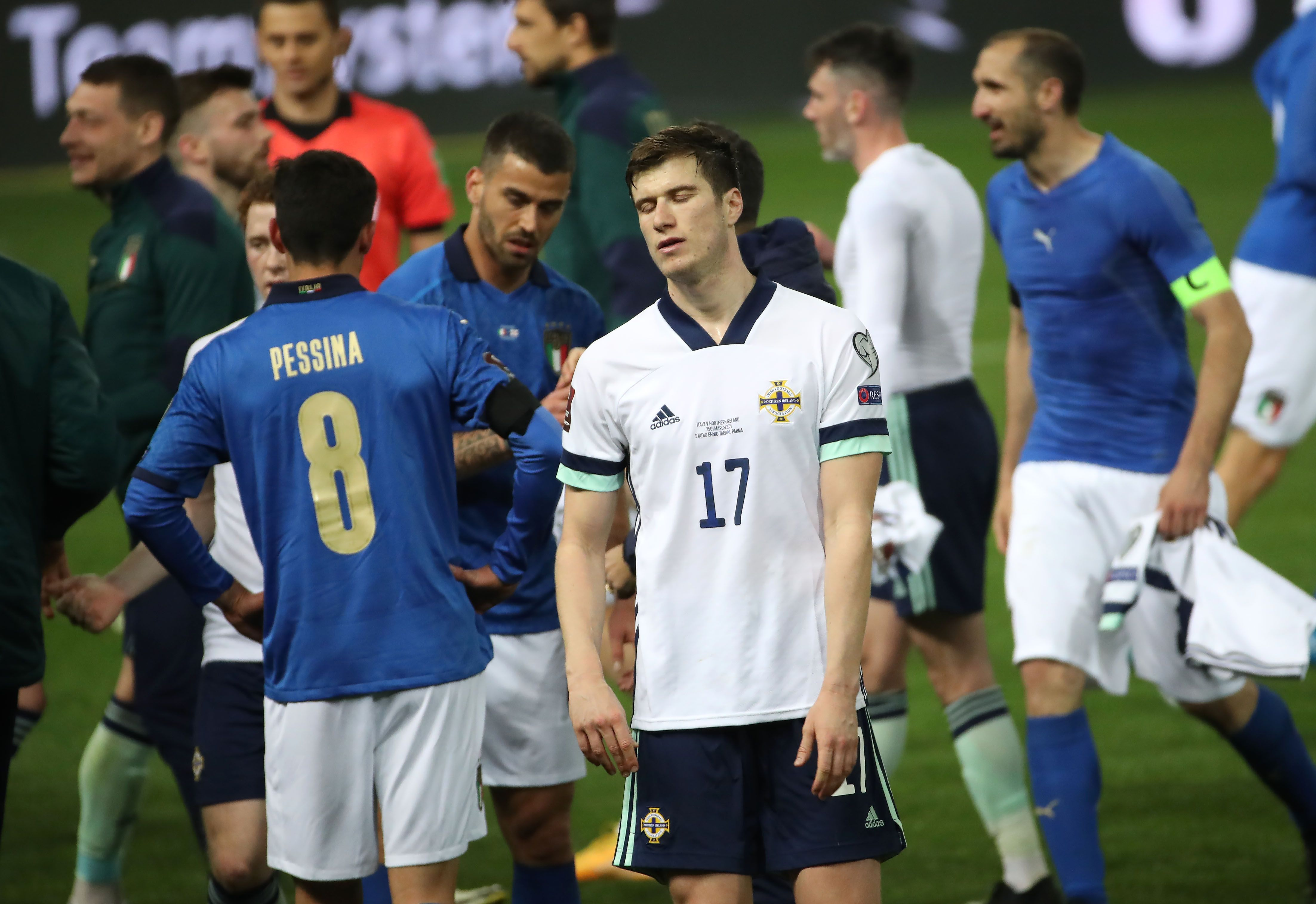 Northern Ireland defender Paddy McNair dejected at full-time after the 2-0 defeat