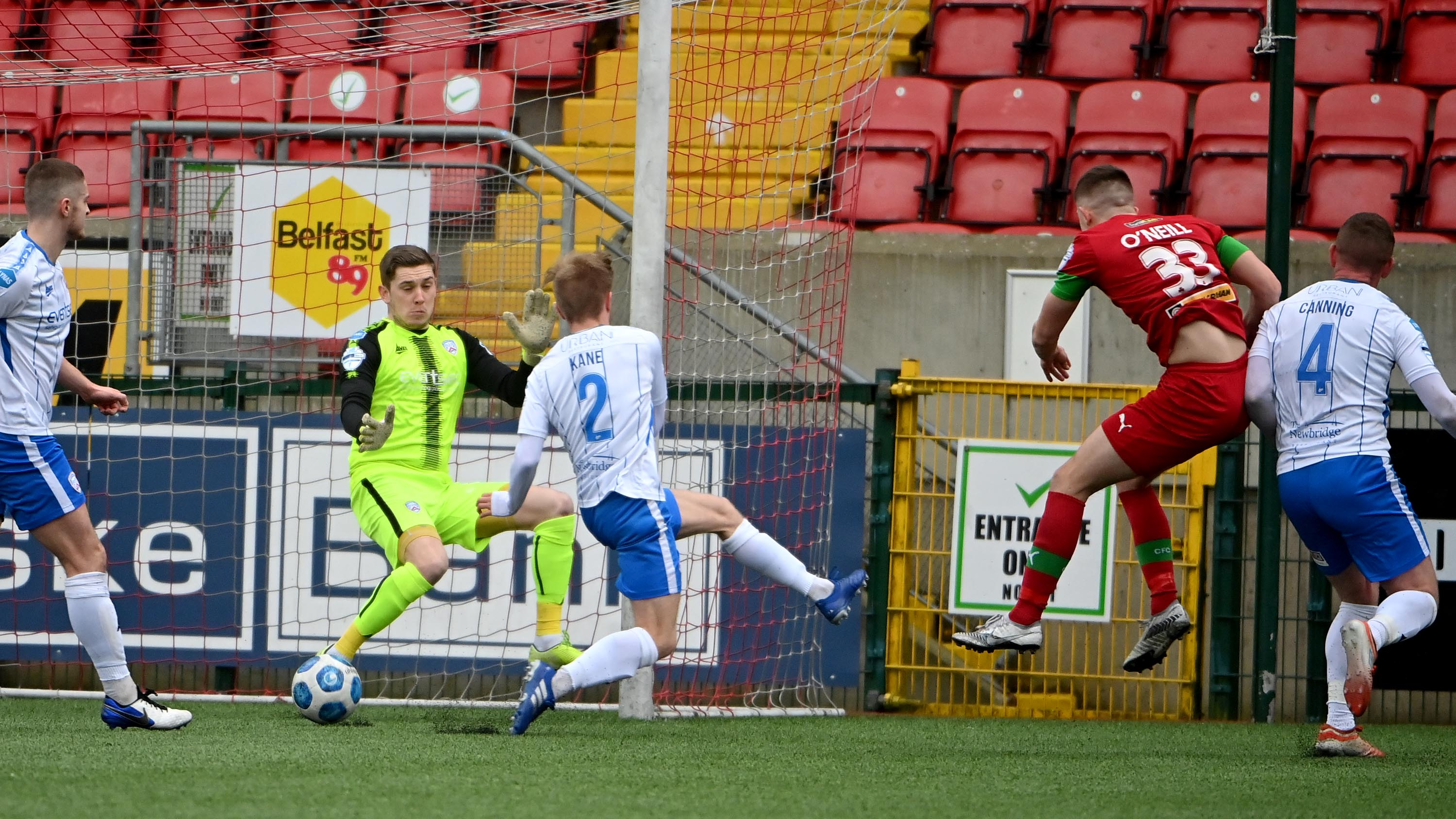Paul O\'Neill fires home Cliftonville\'s second goal