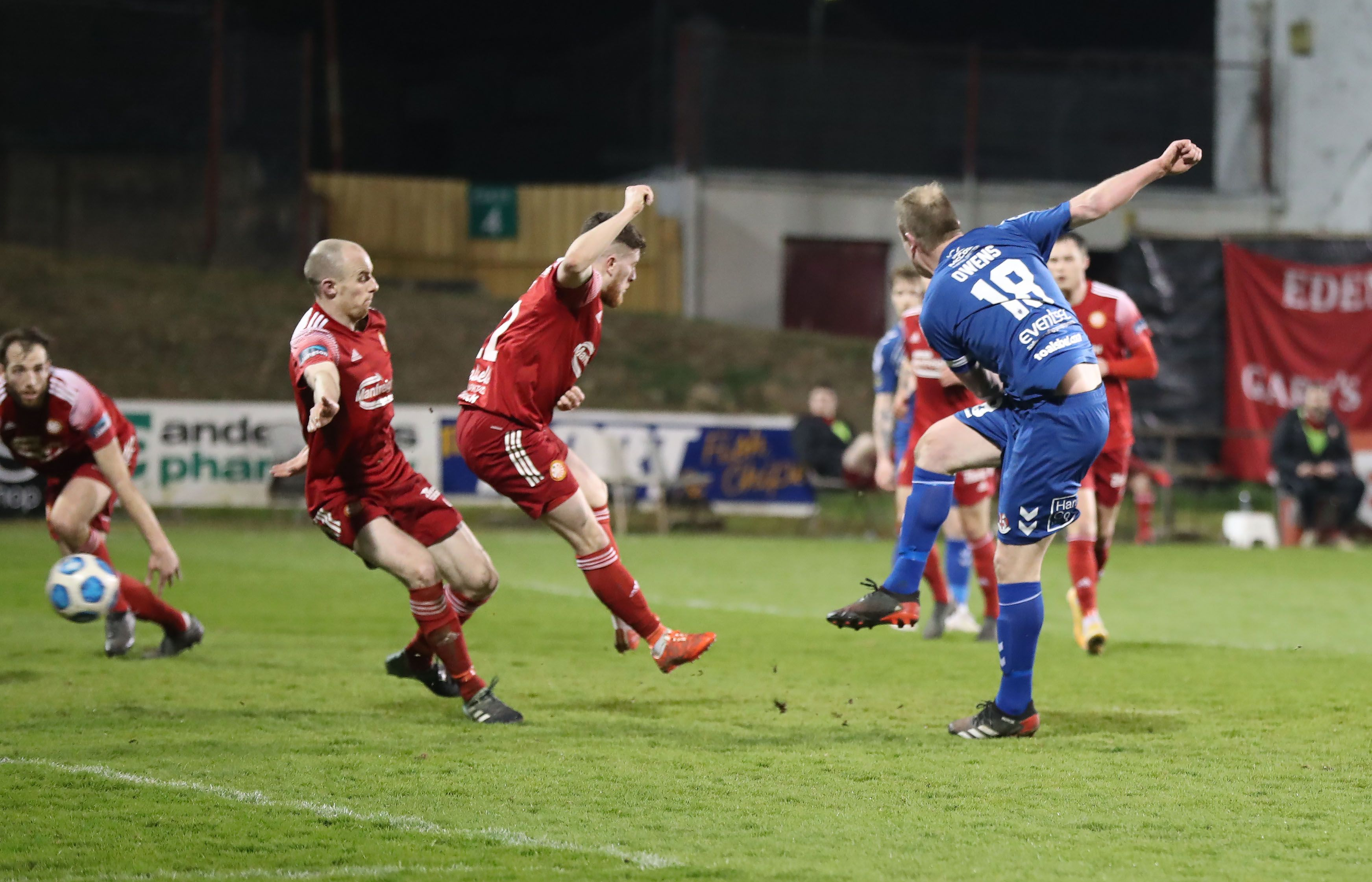 Jordan Owens thumps home the winner for Crusaders at Shamrock Park on Tuesday