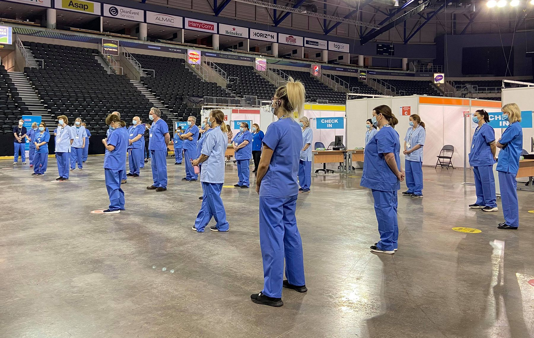 PROGRESS: Clinicians at the SSE Arena prepare to open for vaccinations on Monday morning