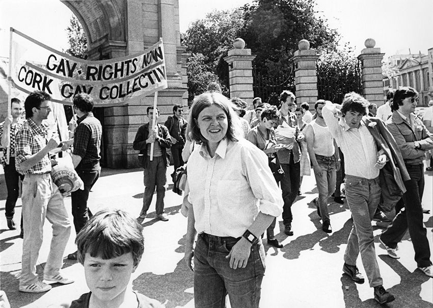 HEIRESS: Rose Dugdale at a gay rights protest in Dublin; below, with Jim Monaghan of the Colombia Three at the launch of Sinn Féin Munster MEP Liadh Ní Riada's Presidential campaign in 2018; below, walking along Abbey Street, Dublin, with her son in 1981
