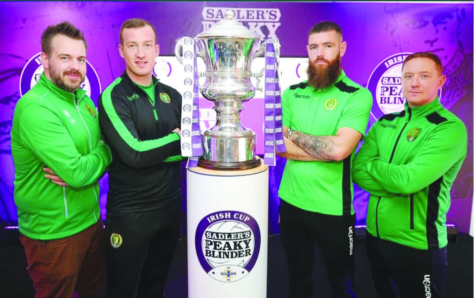 Belfast Celtic players and management at last year's Irish Cup draw