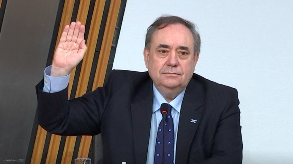 FALL-OUT: Former SNP leader Alex Salmond giving evidence at the Holyrood inquiry into the handling of allegations against him