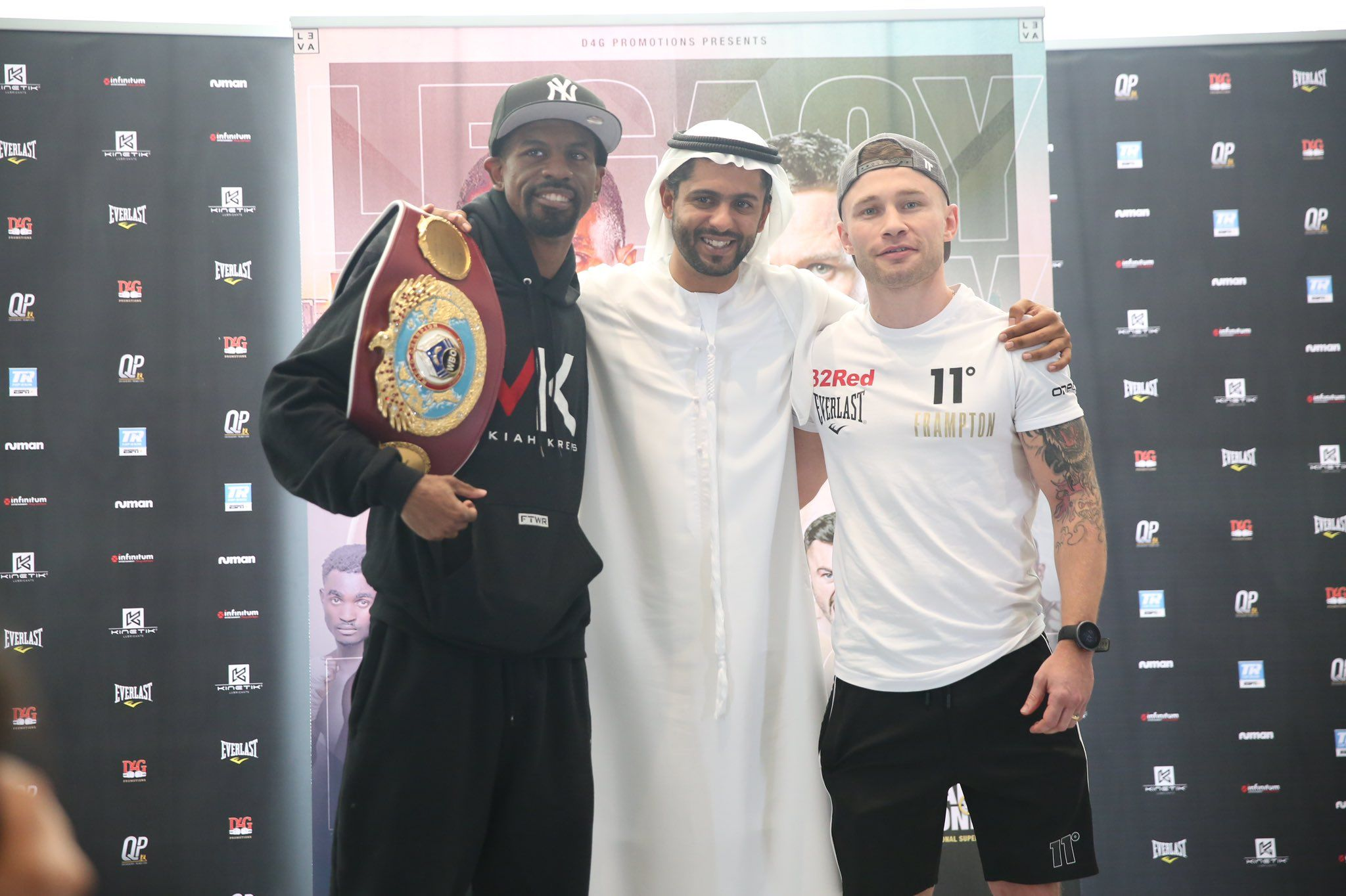 Jamel Herring and Carl Frampton with Ahmed Seddiqi of D4G Promotions at the final press conference ahead of Saturday\'s WBO super-featherweight title clash in Dubai
