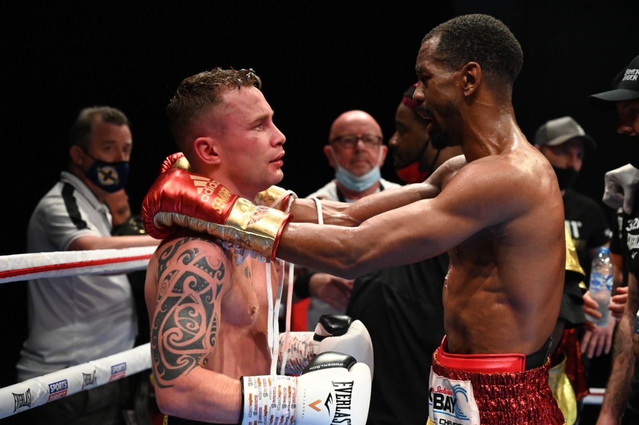 Carl Frampton and Jamel Herring embrace after the fight that saw the New Yorker win by sixth-round stoppage