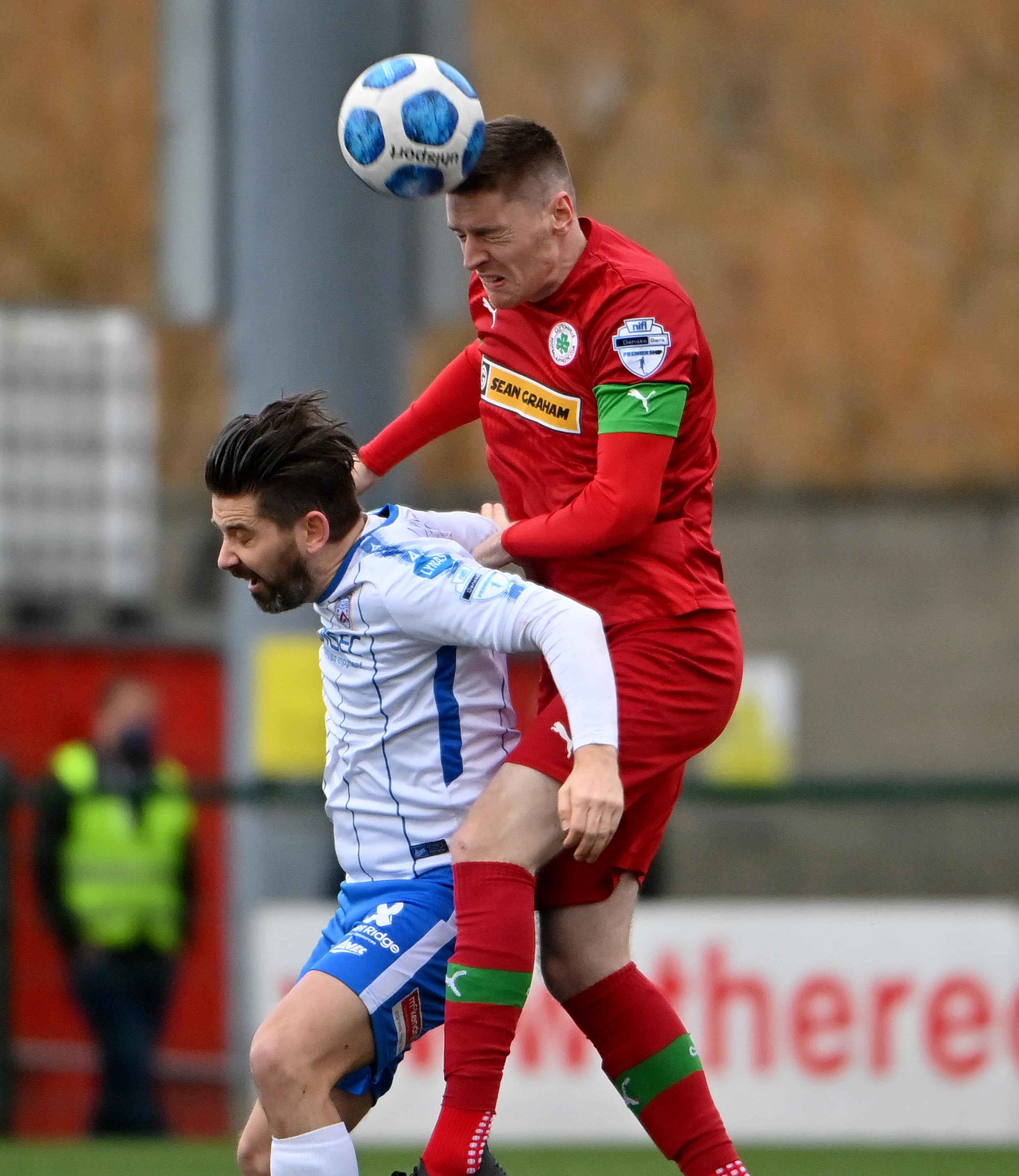 Ryan O\'Reilly headed his first goal since signing for Cliftonville on Tuesday