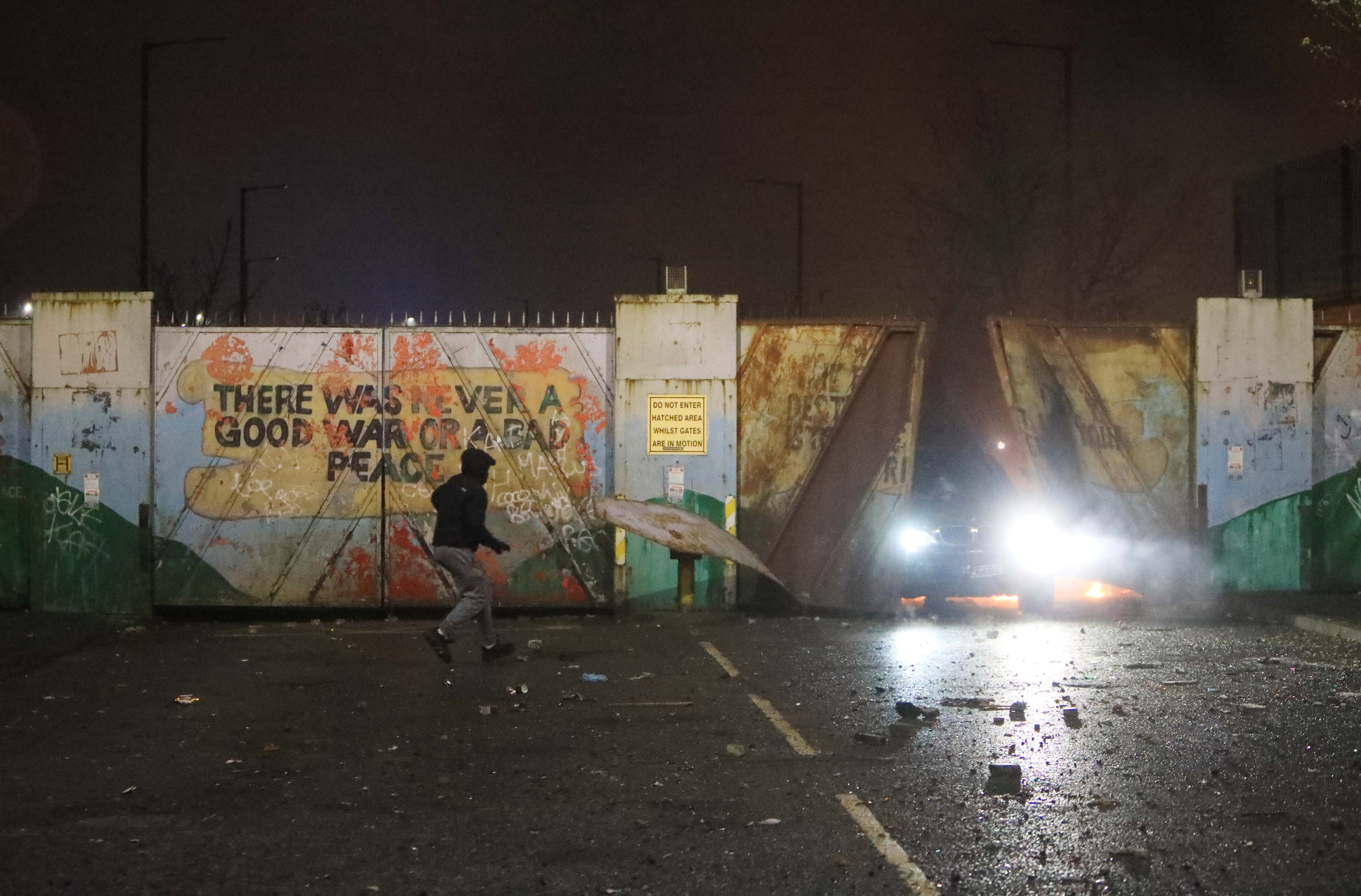 FLASHPOINT: The Lanark Way security gate was centre of disturbances on Wednesday night.