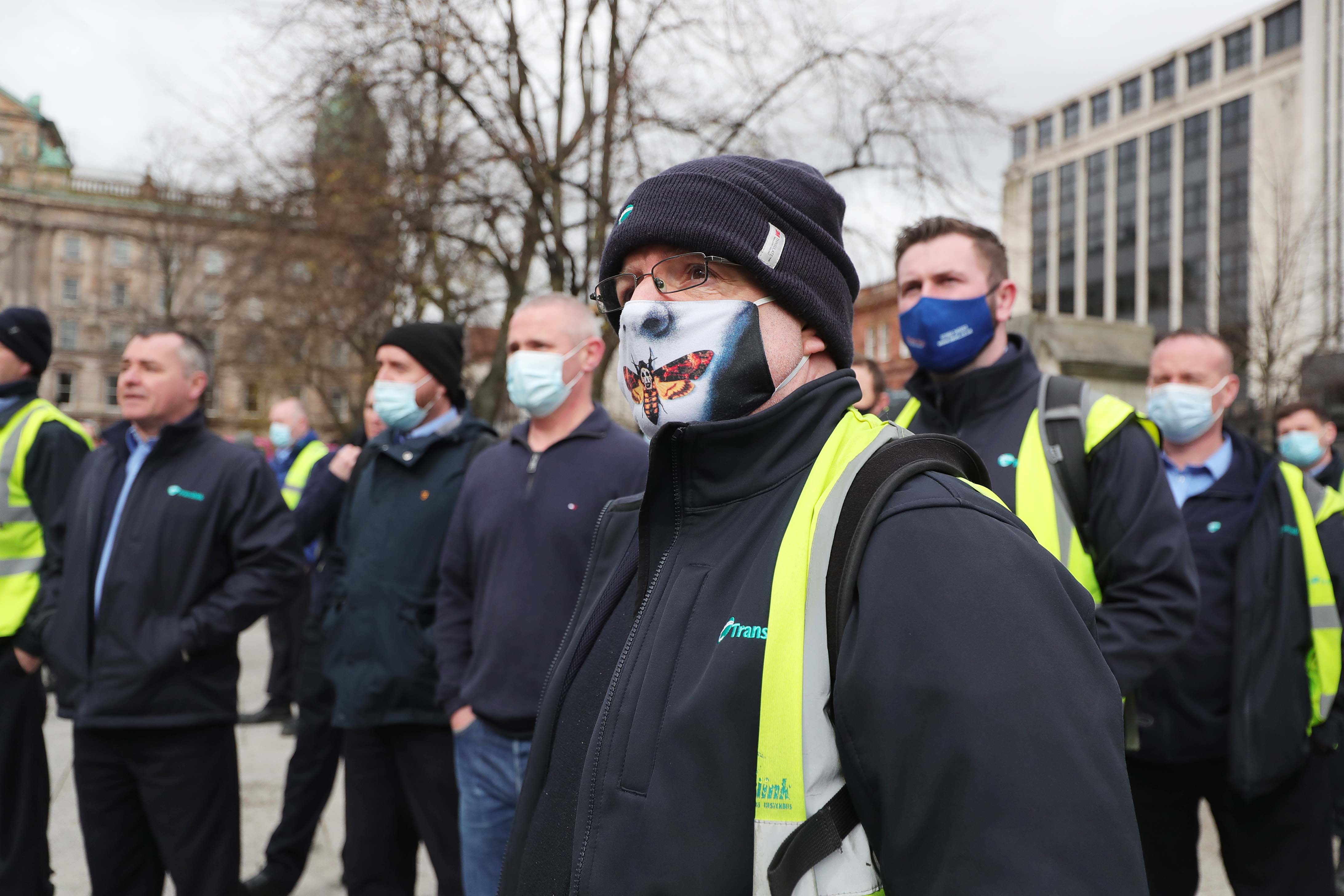 SAFETY PLEA: Bus drivers gathered in Belfast city centre today to condemn attacks on crews.