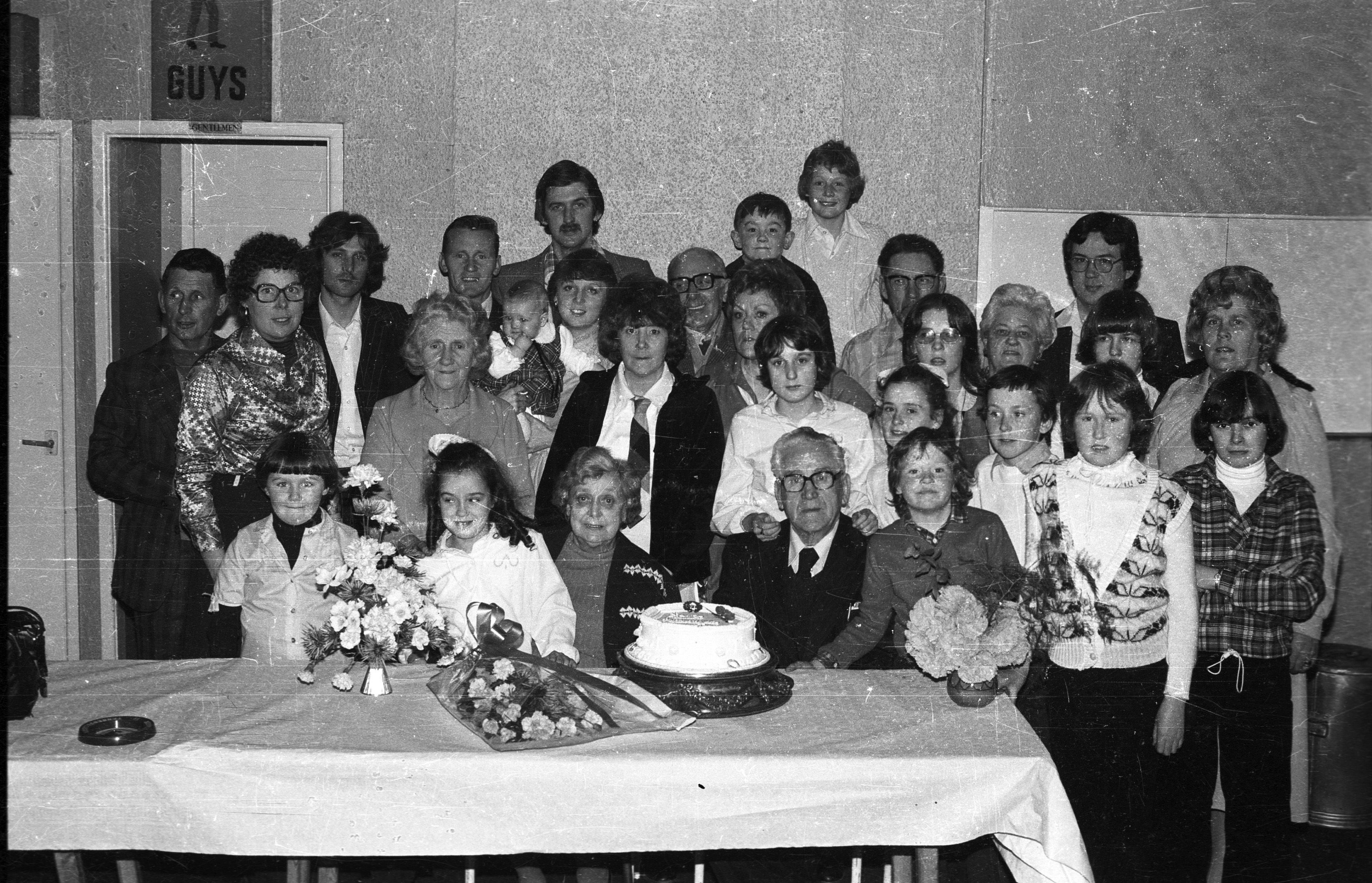 John and Mary Allison's golden wedding anniversary celebrations in St Gall\'s clubrooms, with their children Anne, Josie, Tony, Phyllis, Joe, Mona, relatives and guests this week in 1979
