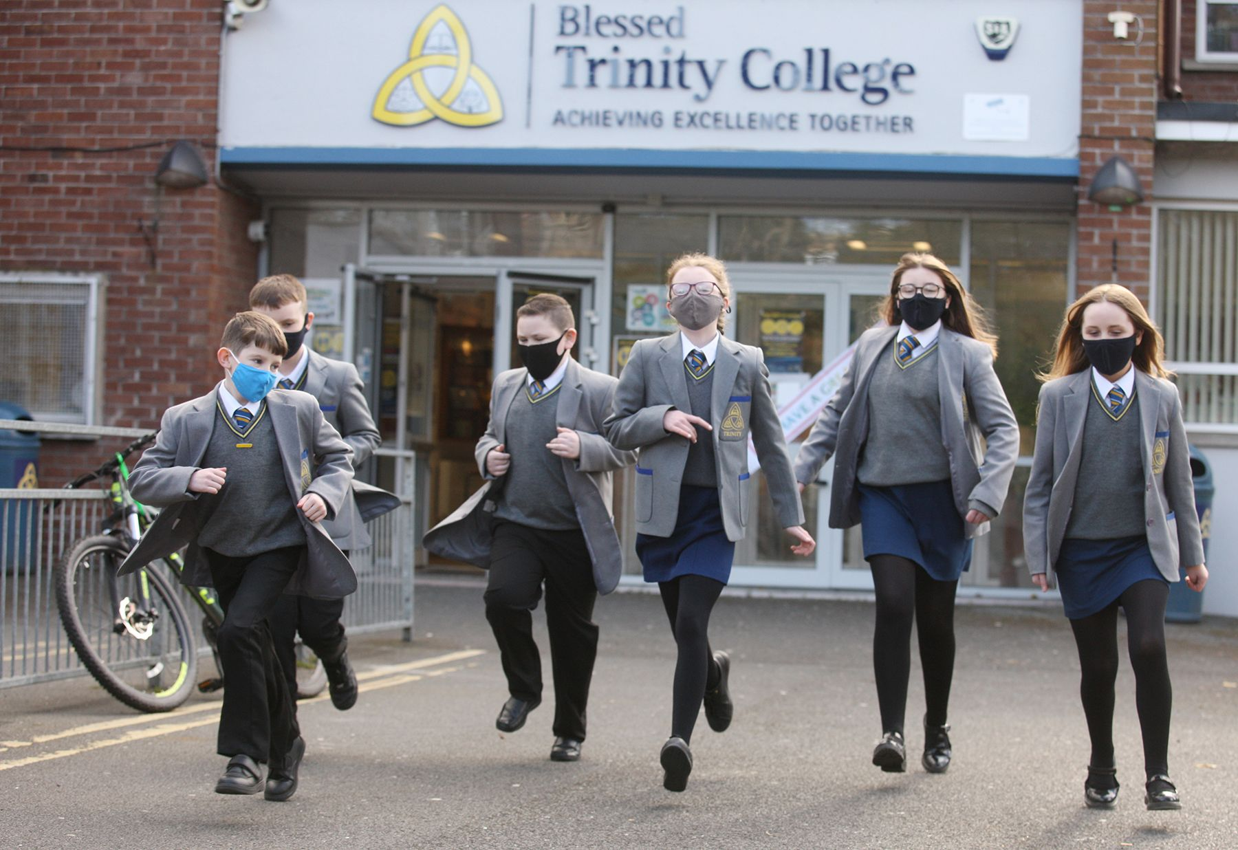 MASKED UP AND RARIN\' TO LEARN: Pupils returned to Blessed Trinity College on Monday morning