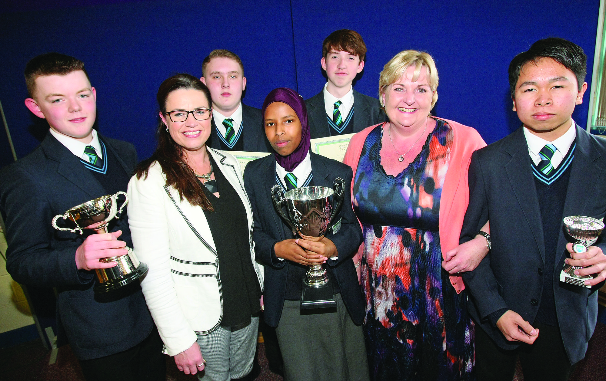 OPEN DOOR POLICY: Malone College is among schools championing diversity; principal Katrina Moore is pictured with colleagues and award-winning pupils