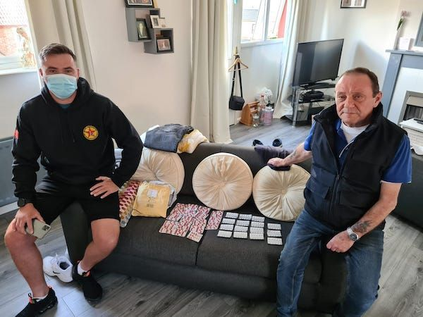 \'INTERCEPTED\': IRSP representative Gerard Foster (right) and a party colleague assess the consignment of drugs