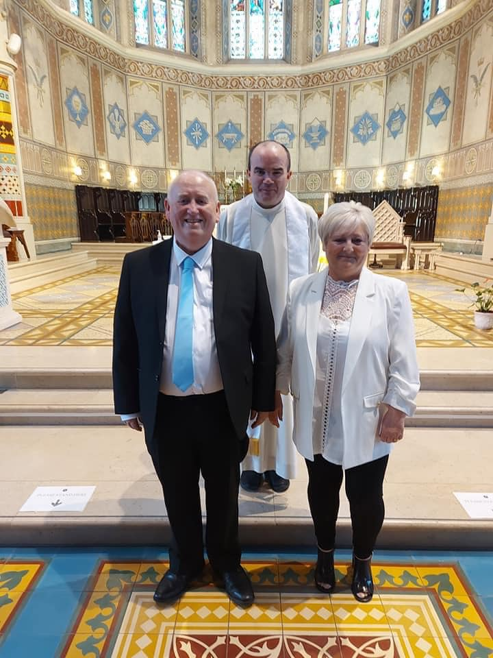 KNOT TIED:  Fra and Janette with Fr Brian Watters