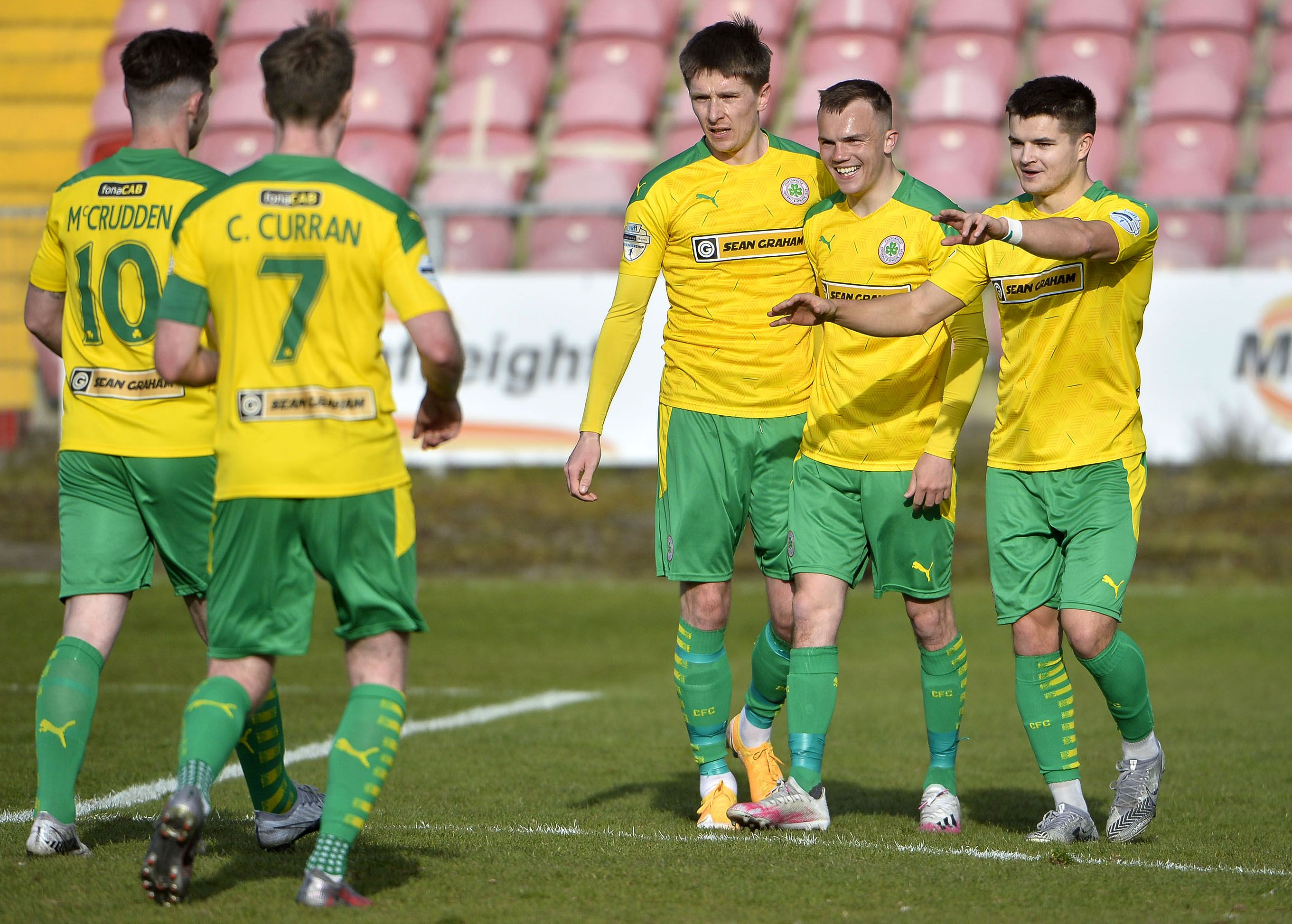 Cliftonville\'s Ryan Curran celebrates after finding the net against Portadown and his first half brace was enough to secure all three points at Shamrock Park