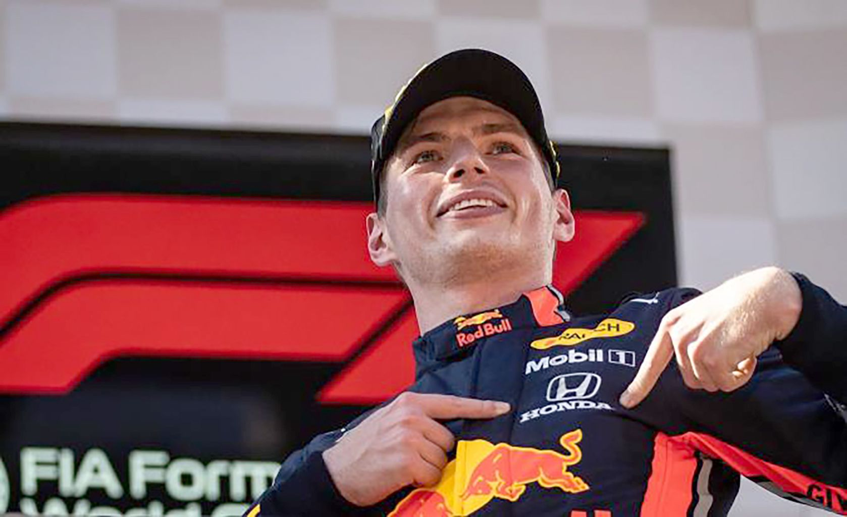 FIRST WIN OF THE YEAR: Max Verstappen celebrates his superb victory in an action-packed Emilia Romagna Grand Prix at Imola Italy