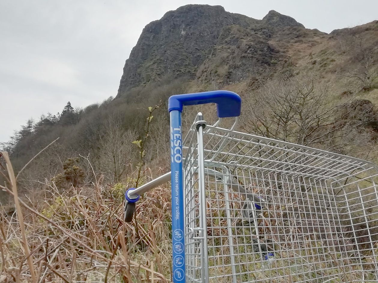 HUMAN IMPACT: The shopping trolley under Napolean's Nose in the north of the city; below, another hedgerow vanishes from the countryside
