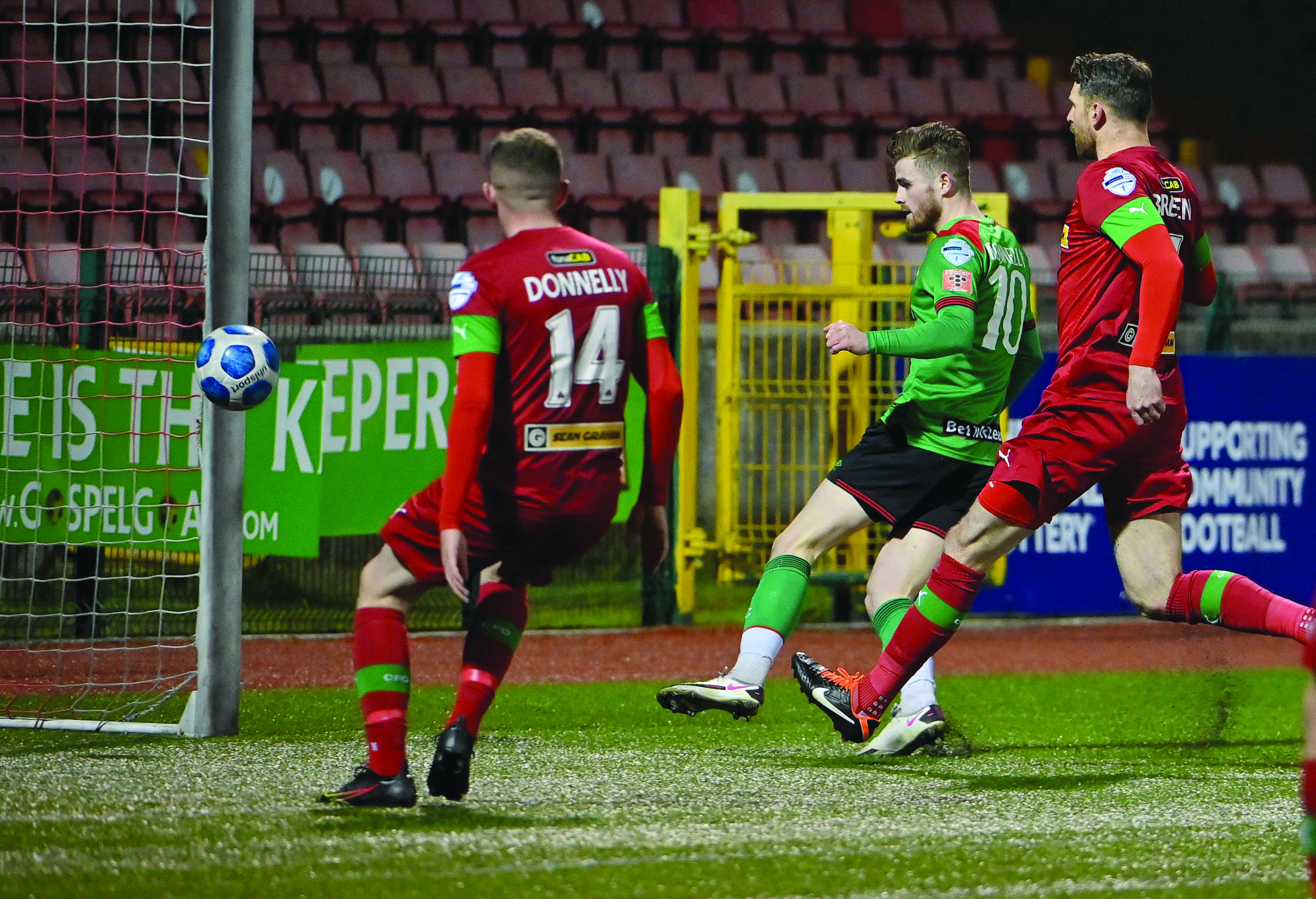 Glentoran striker Rory Donnelly slots home the opener against his former club in Tuesday night's 2-0 win over Cliftonville at Solitude