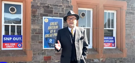 """INDEPENDENCE \""""A DANGEROUS NONSENSE\"""": George Galloway leaps, feet first, into the Scottish election as a pro-Union candidate."""