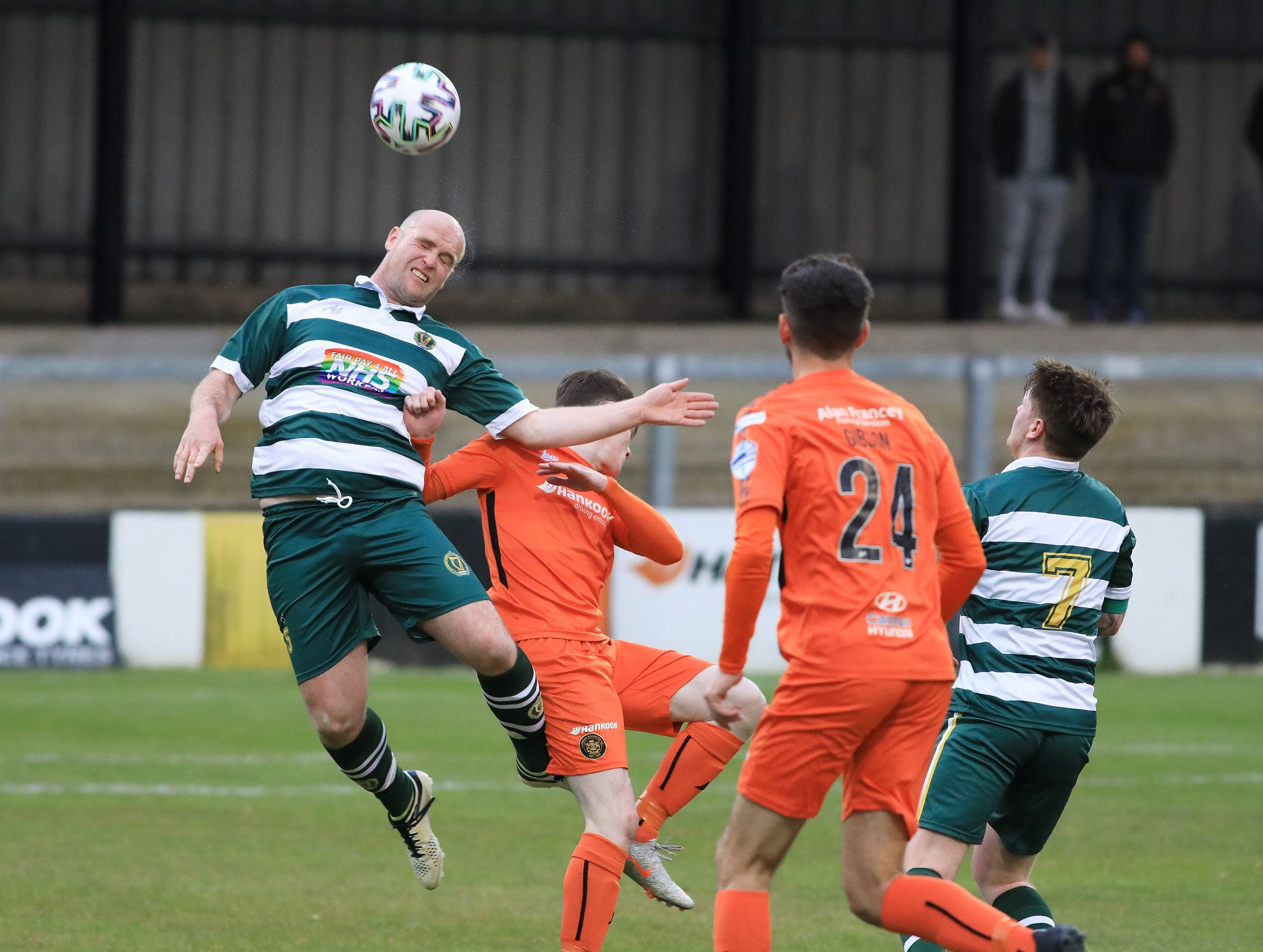 Belfast Celtic defender Stephen Tully comes under pressure during Tuesday\'s Irish Cup tie at Carrick Rangers