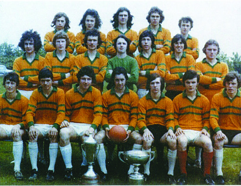 The St Mary\'s CBGS footballers with the Hogan Cup and MacRory Cup
