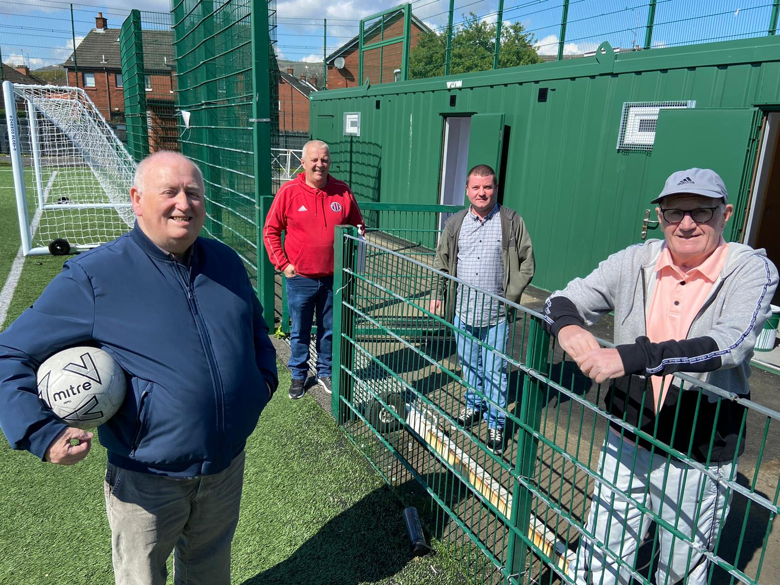 KICK-OFF: Fra McCann MLA, Jim Cahill, Cllr Ciaran Beattie and George McCabe at the opening of the new changing facilities.