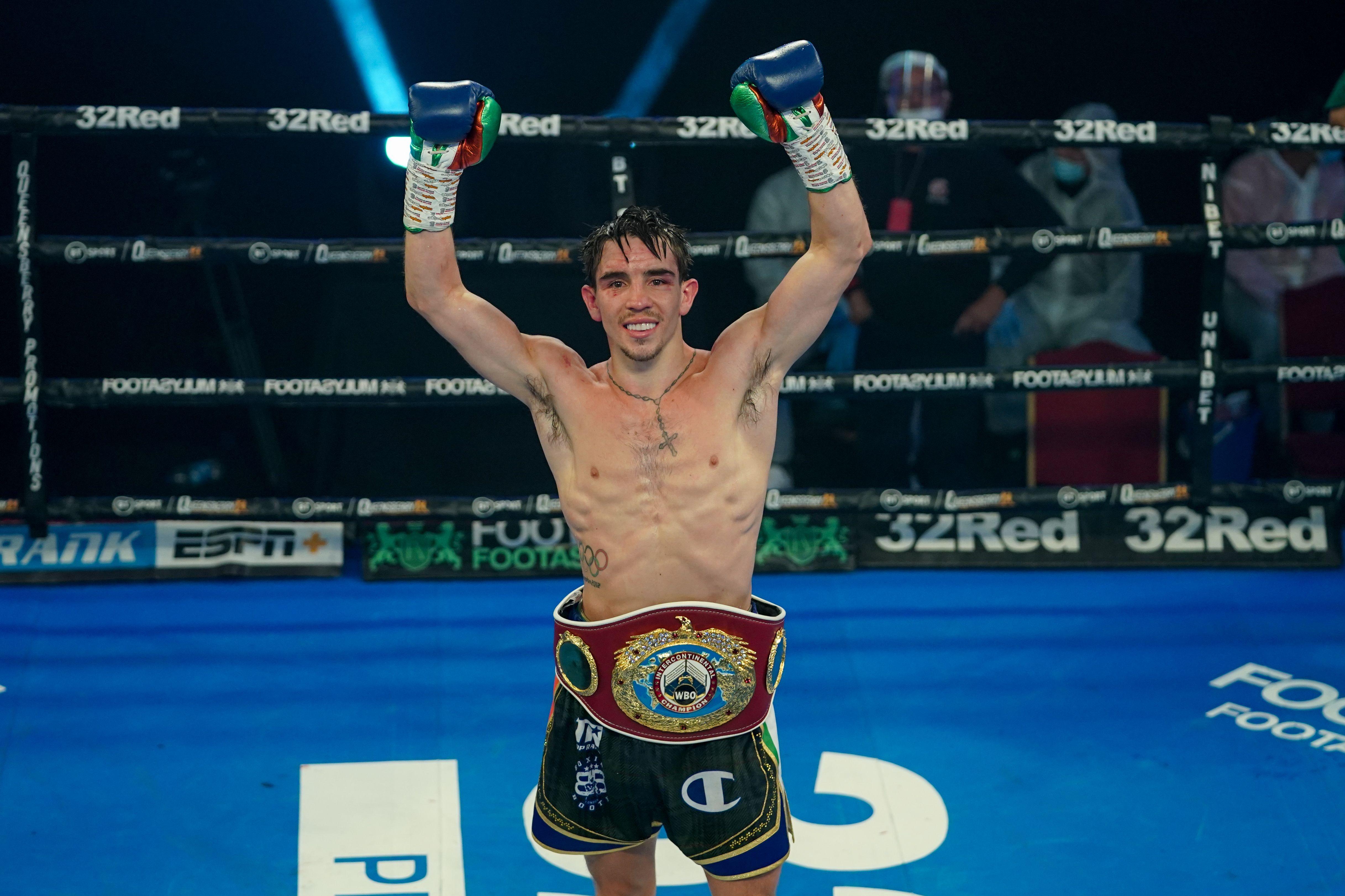 Michael Conlan celebrates his win