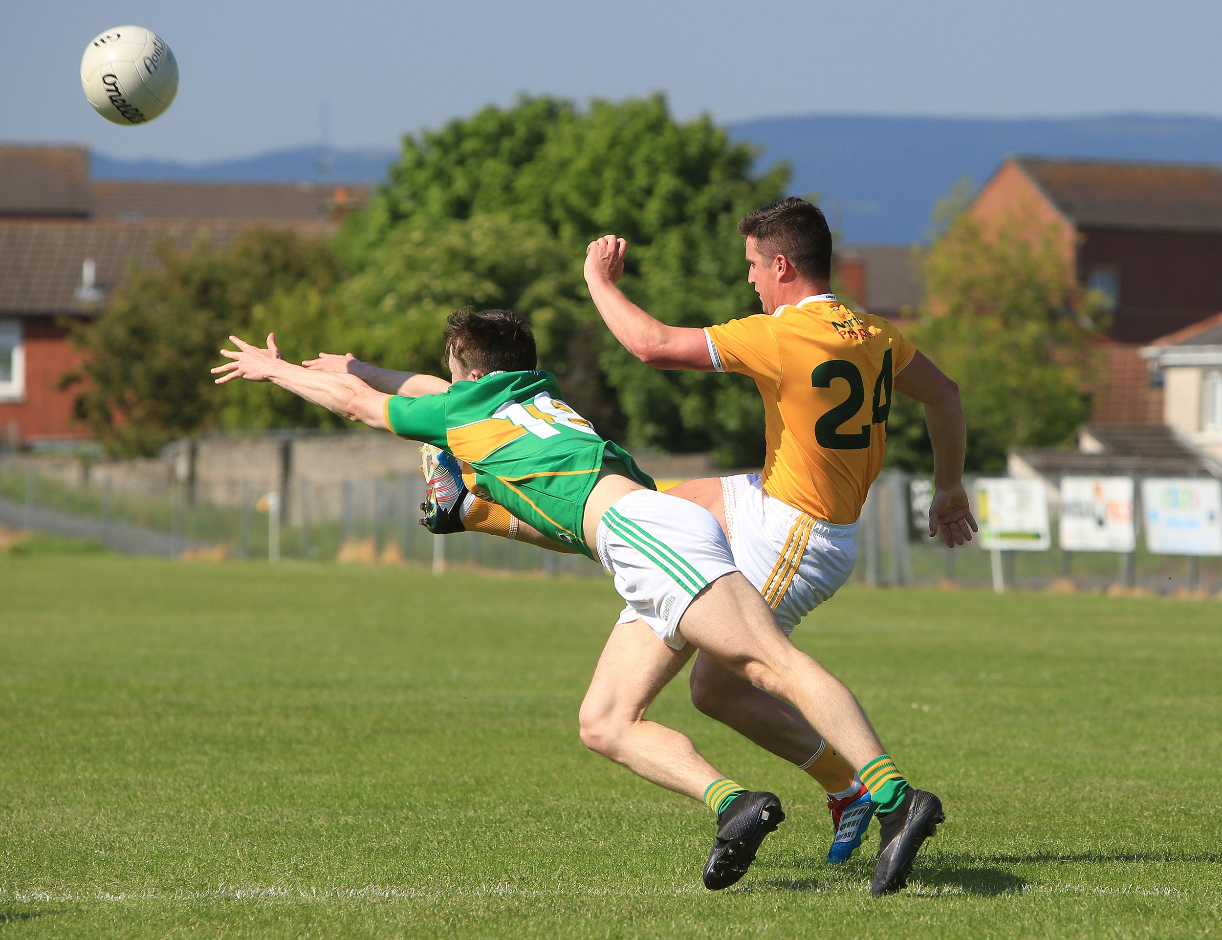 Antrim attacker Tomás McCann fires over the injury-time winner as the Saffrons recorded another dramatic win at Corrigan Park on Sunday