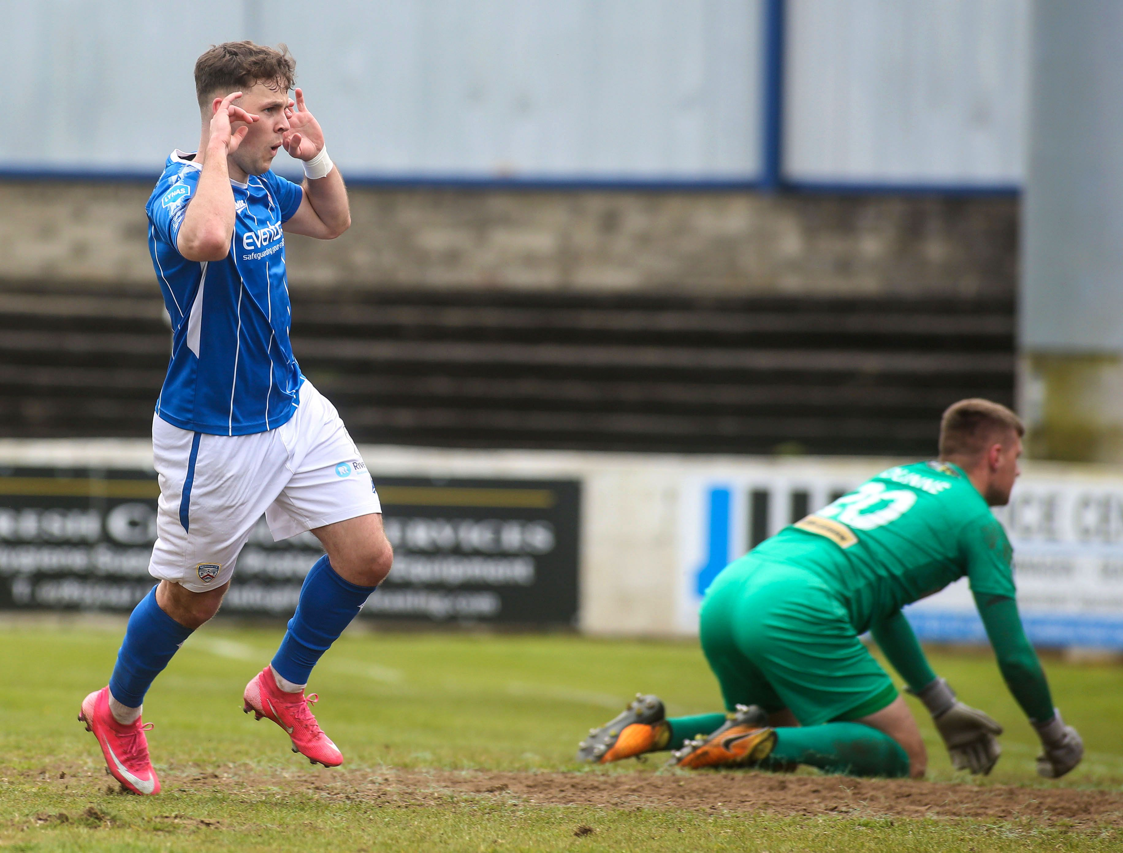 Ben Doherty celebrates his second goal