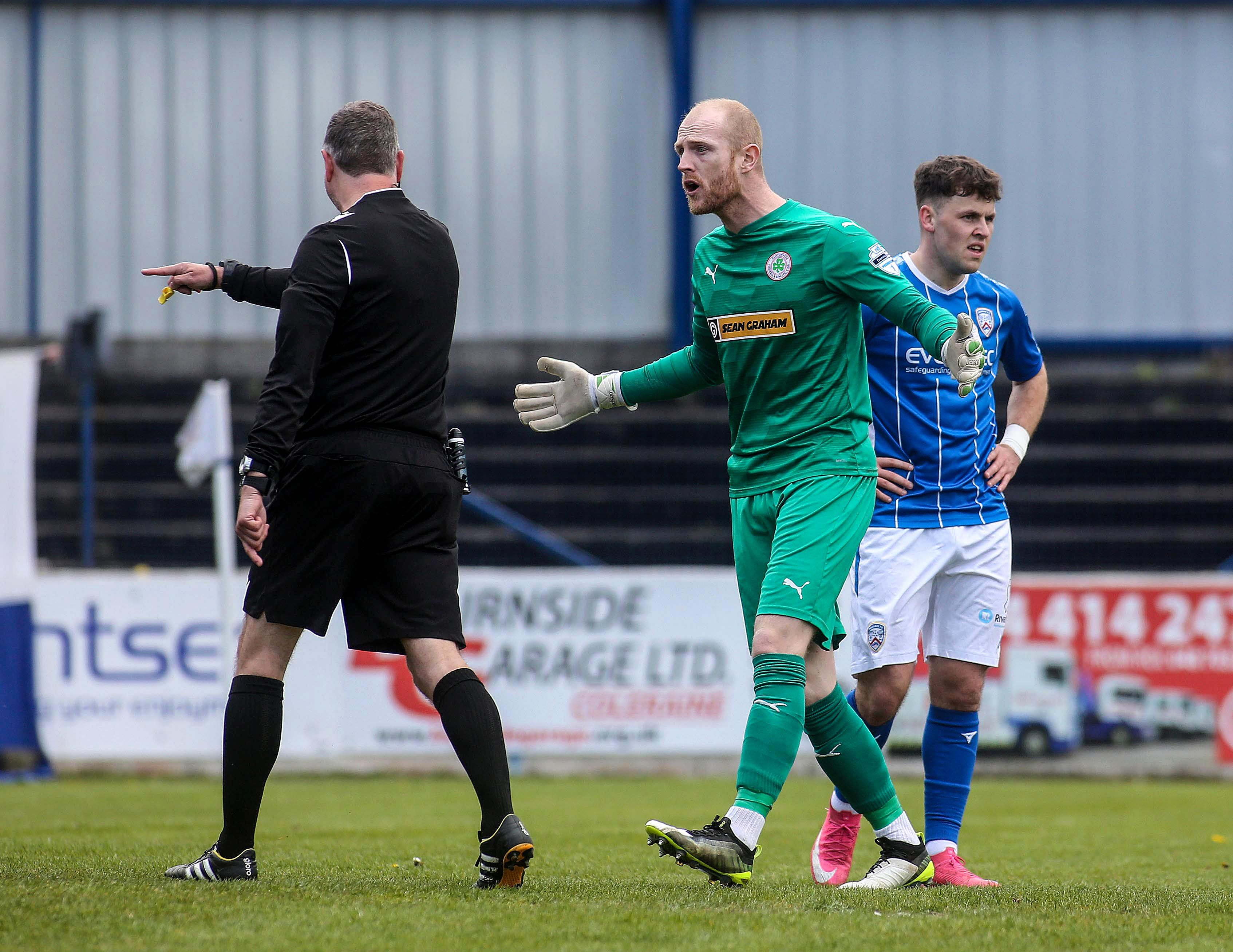 Cliftonville goalkeeper Aaron McCarey is out of this evening\'s game having been sent-off on Saturday