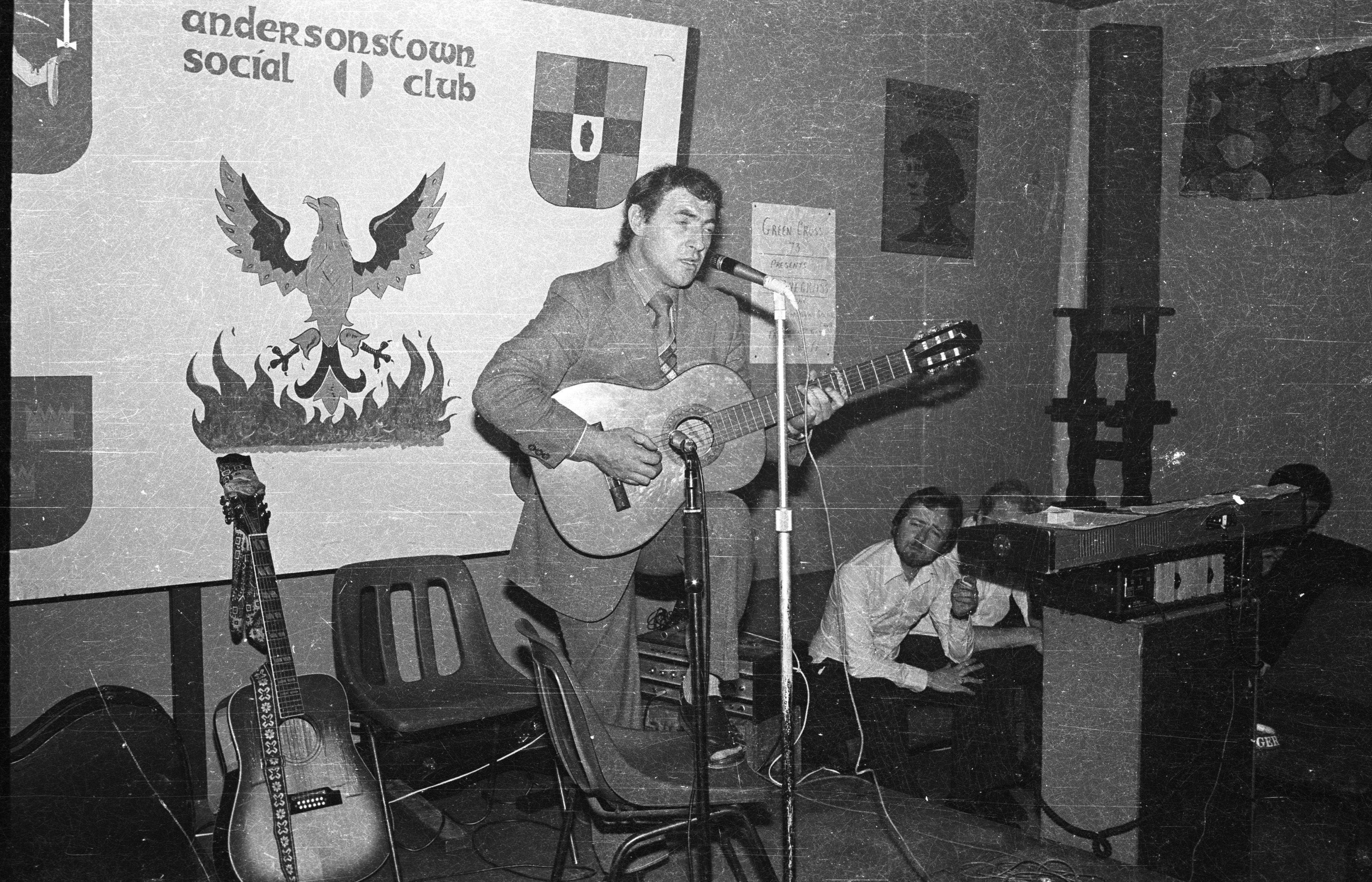 "\""OCH, OCH\"": Albert Fry, in a rare performance outside of Cumann Chluain Ard, playing at the Oíche Ghaelach in Andersonstown Social Club back in 1979."