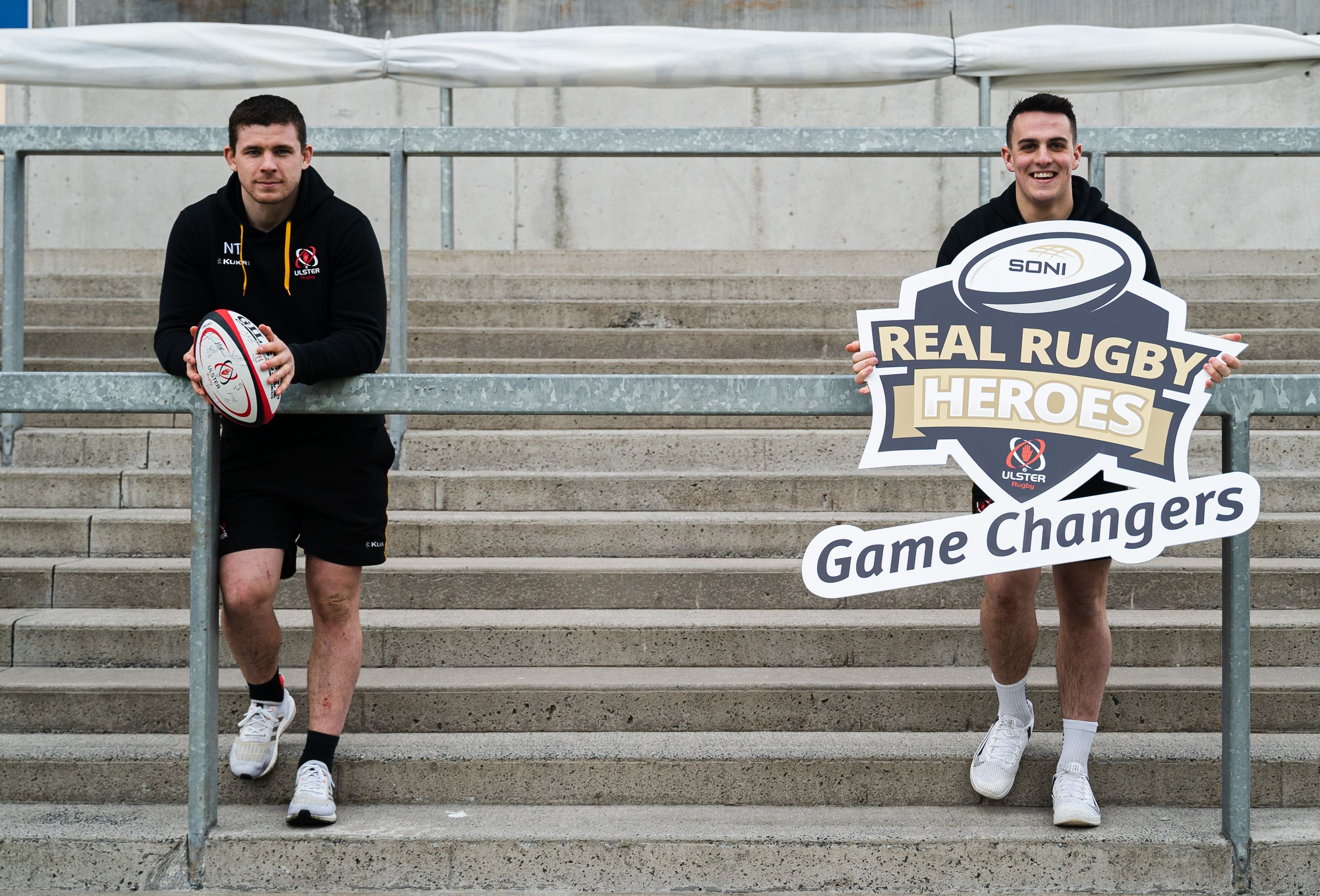 Ulster players Nick Timoney and James Hume at the launch of the awards