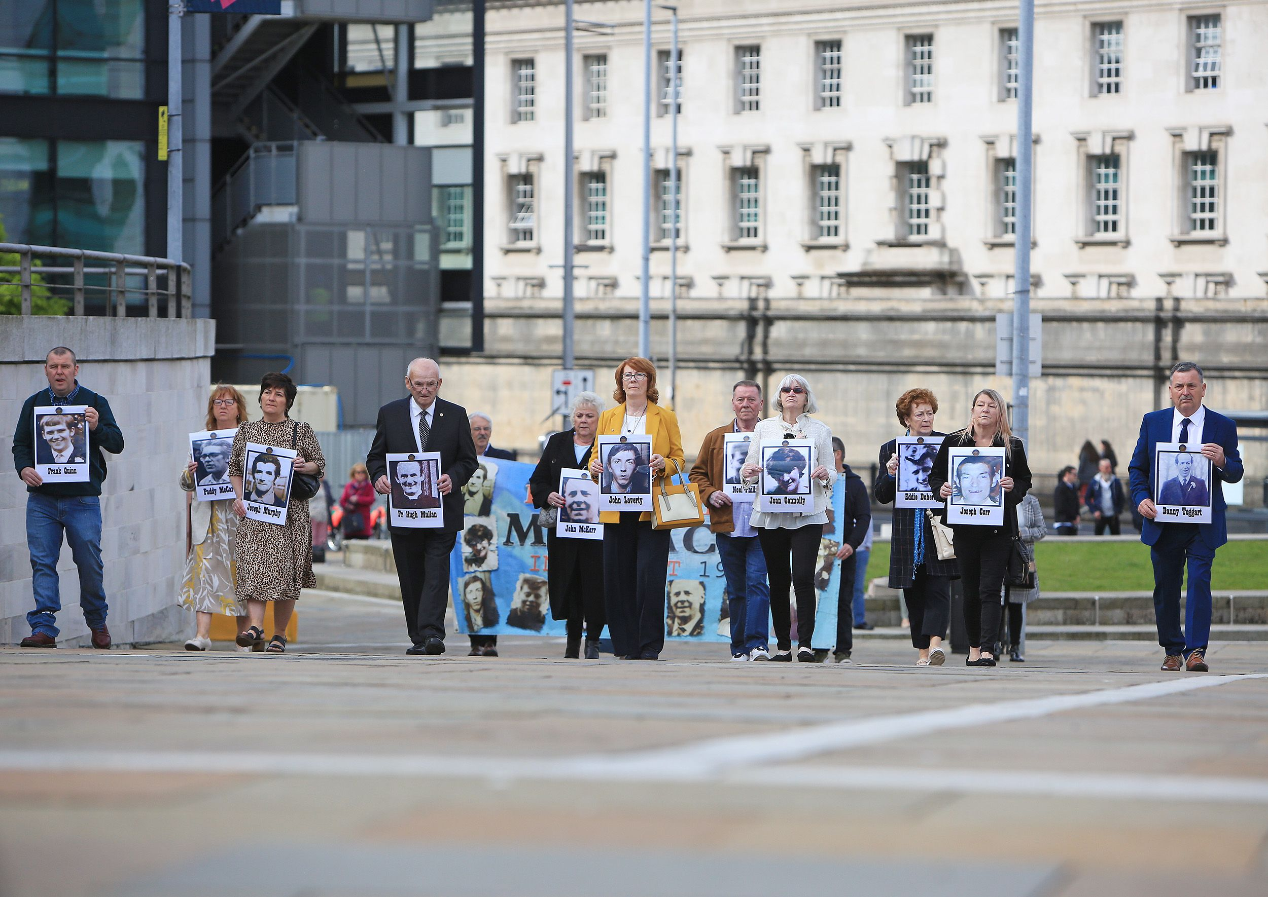 JUSTICE SEARCH: Relatives of victims of the Ballymurphy Massacre gathered to remember their loved ones before heading into the courts to hear the Coroner\'s verdict.